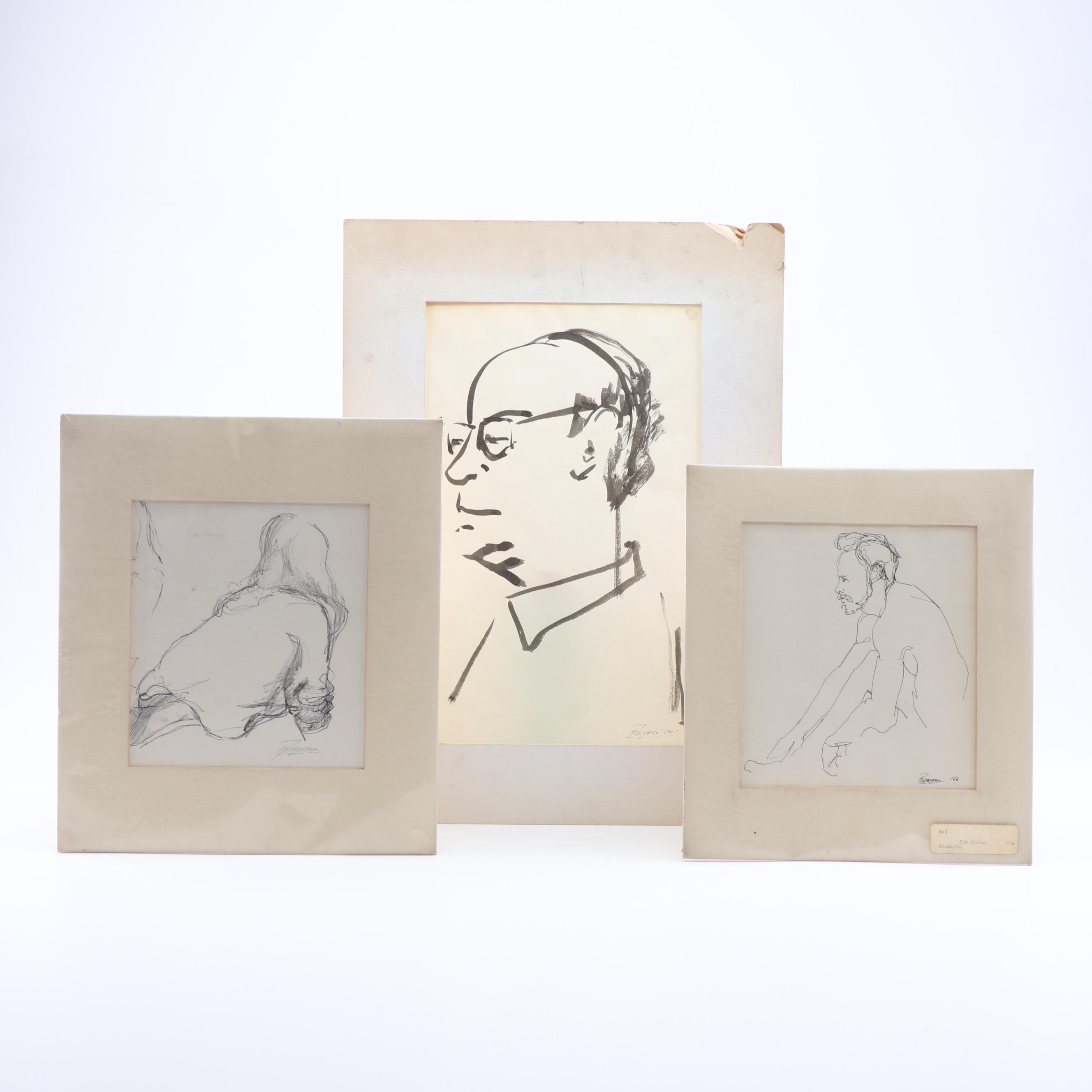 Richard Rosmarin Drawings, Mid 20th Century