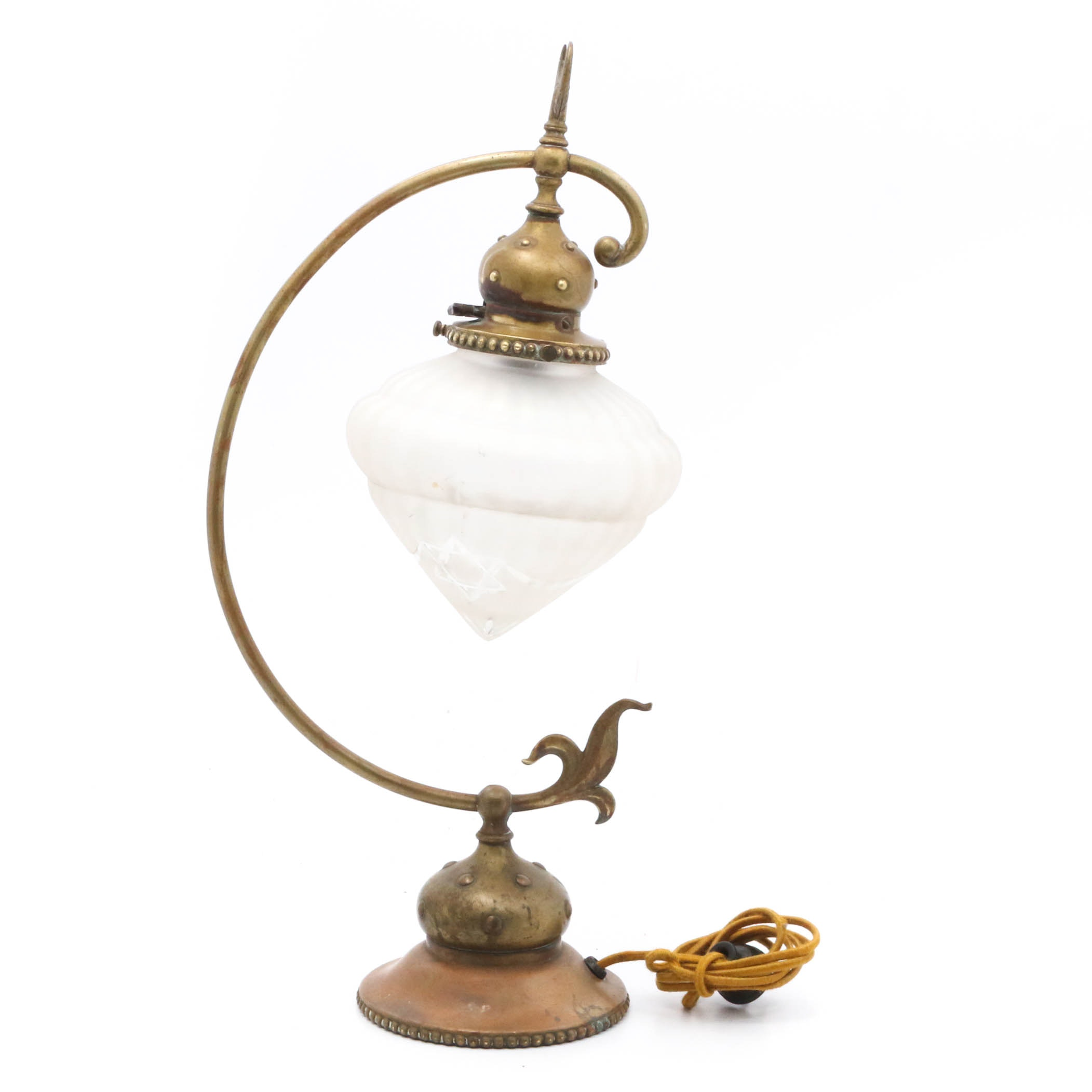Brass Table Lamp with Frosted Glass Shade, Early 20th Century