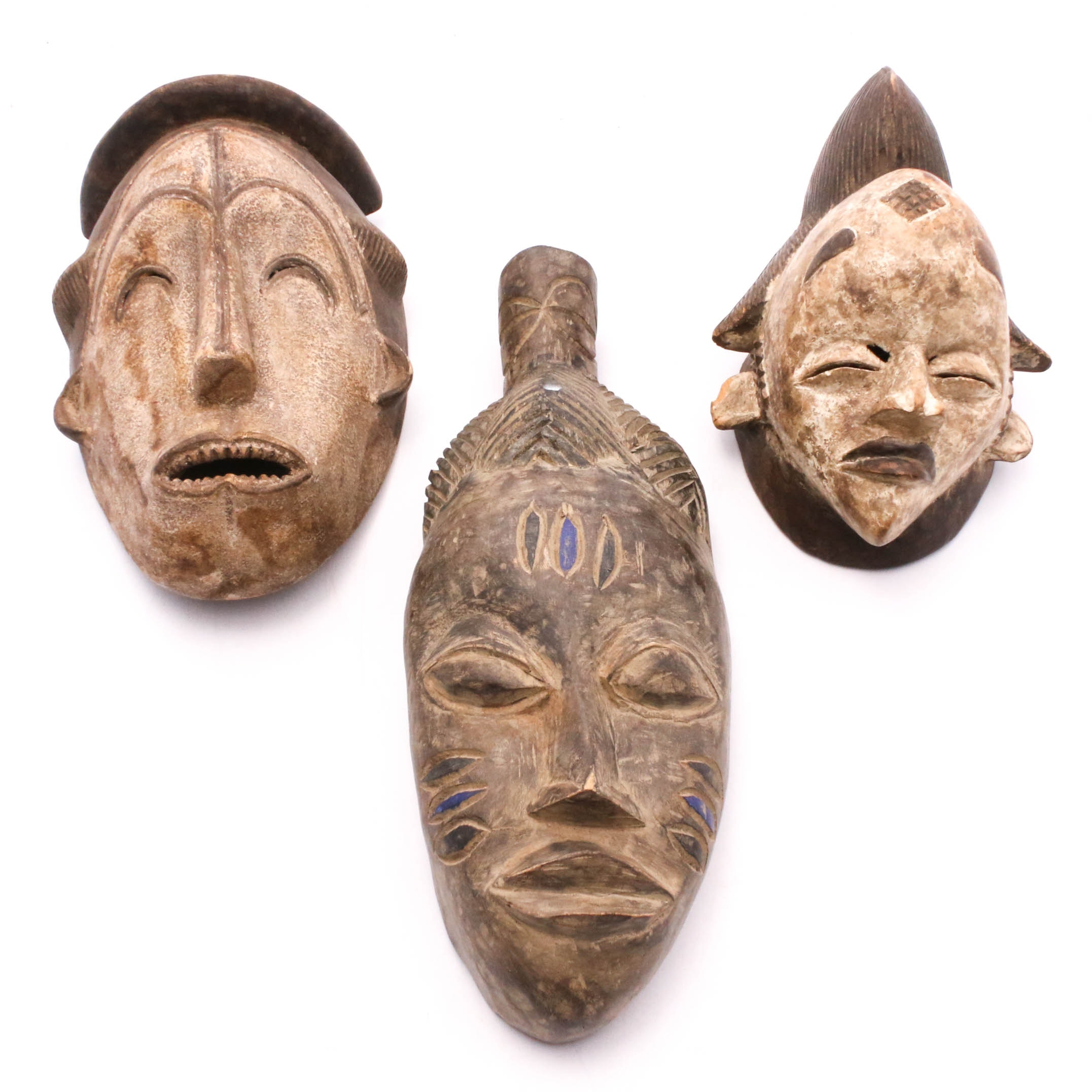 African Hand-Carved Wood Mask Wall Hangings