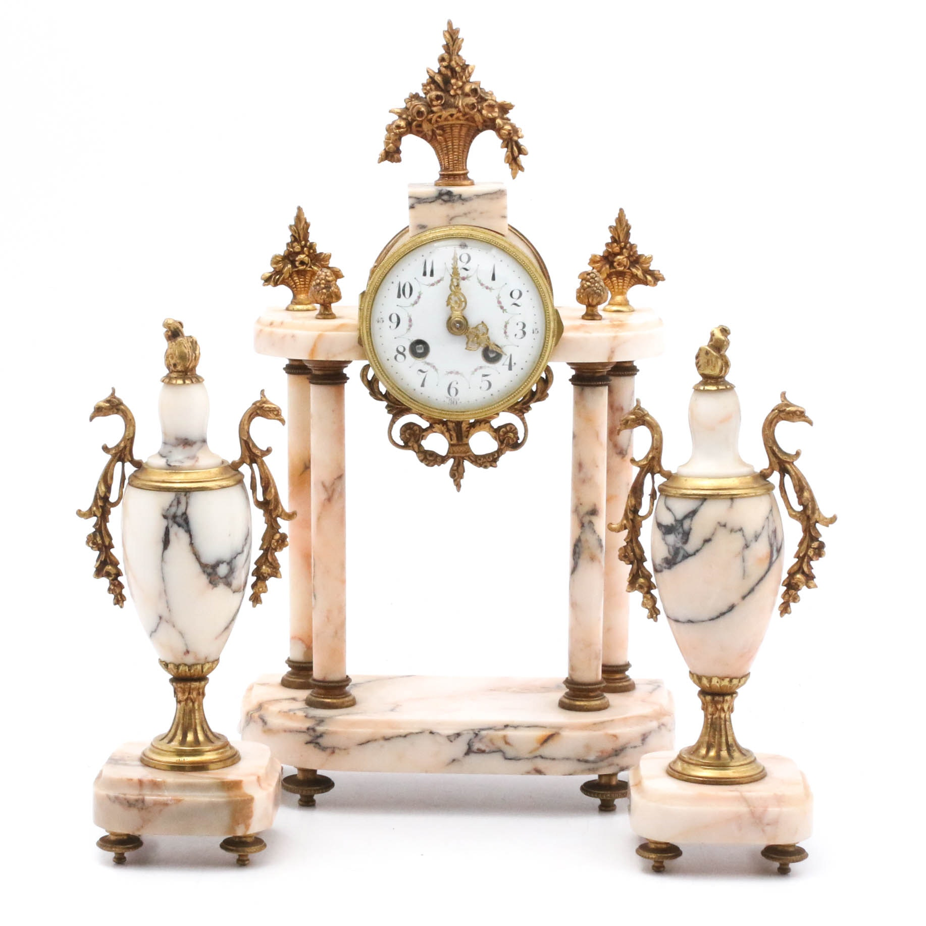 French Baroque Marble and Bronze Mantel Clock Garniture, Early 20th Century