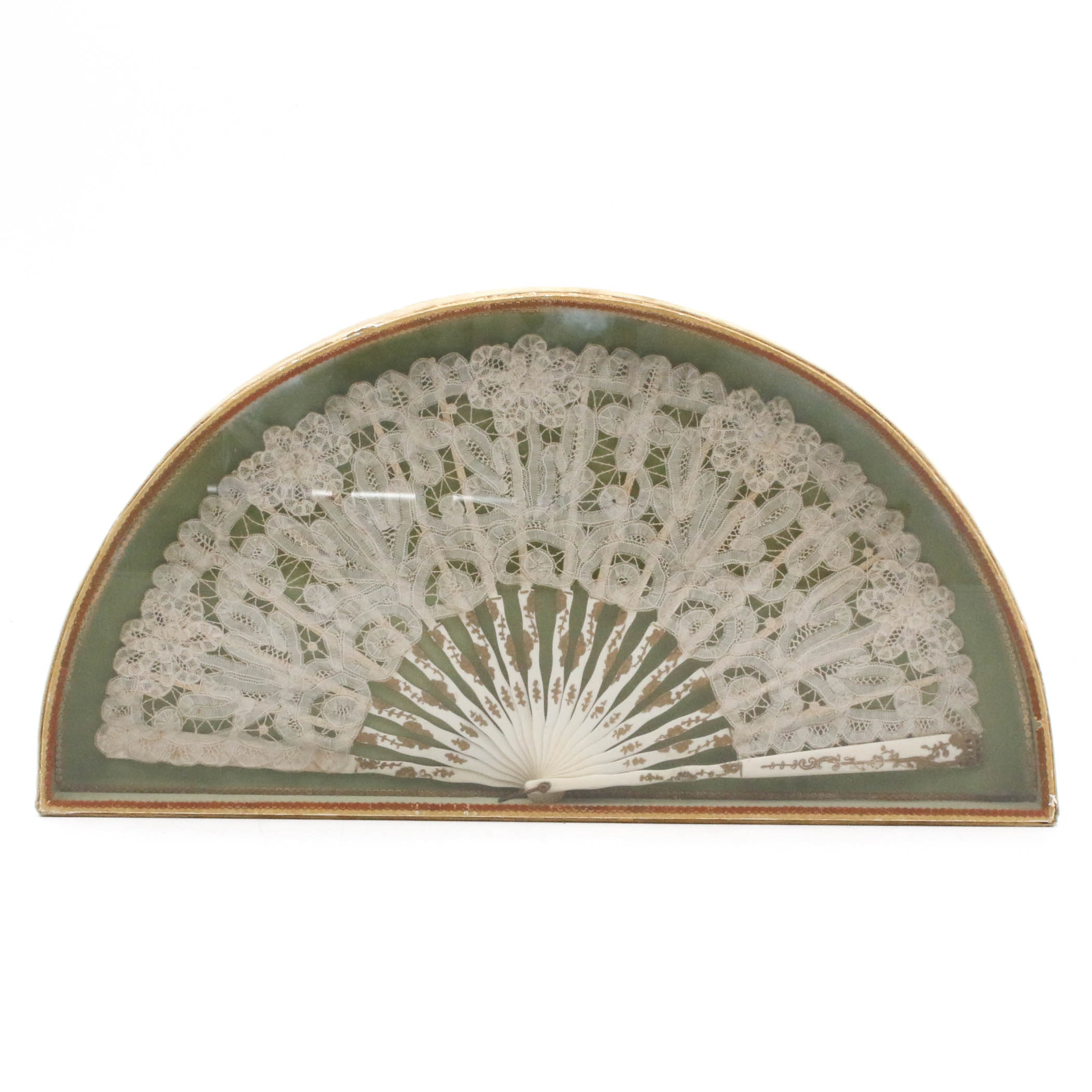 Antique Handmade Lace and Carved Bone Fan in Shadowbox, 19th Century