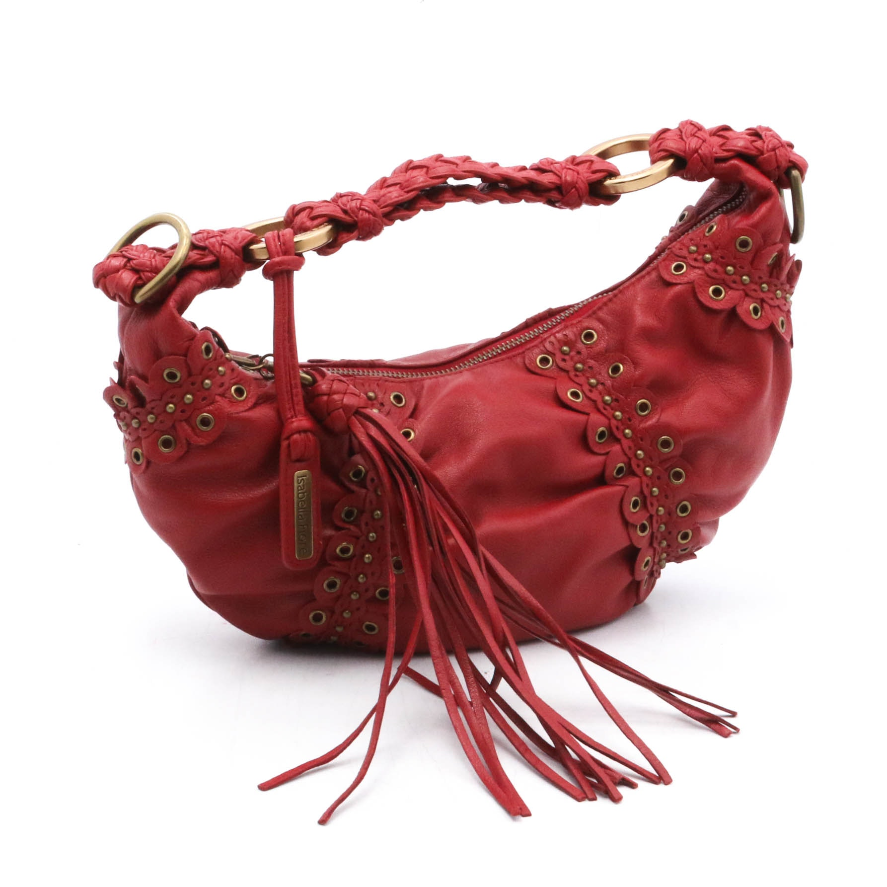 Isabella Fiore Red Leather Shoulder Bag with Grommets and Fringed Tassel