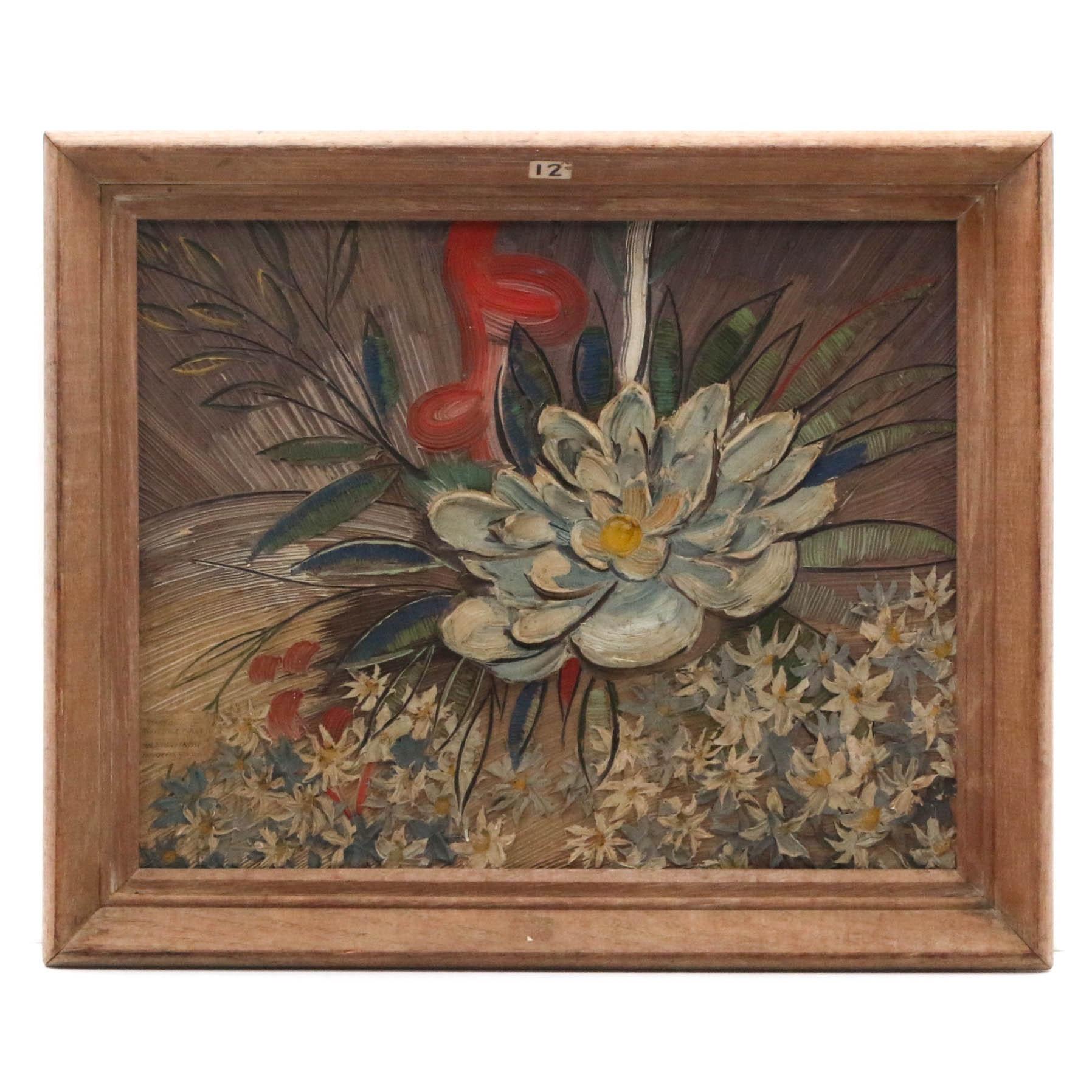 "W.J. Medlian Impasto Oil Painting ""Stars of White Ice Plant (Echeveria Glauca)"""