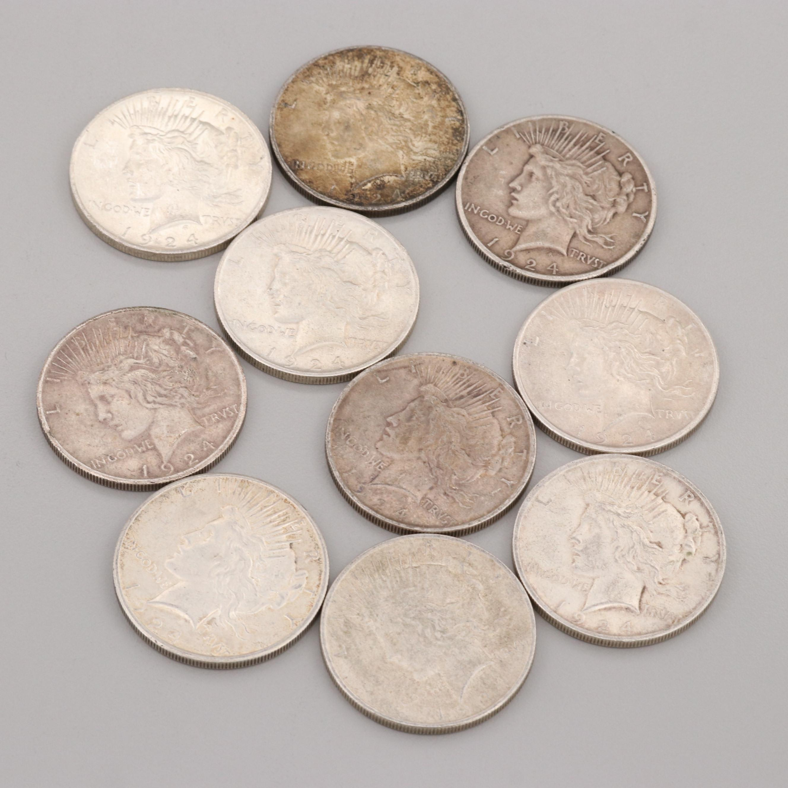 Group of Ten 1924 Silver Peace Dollars