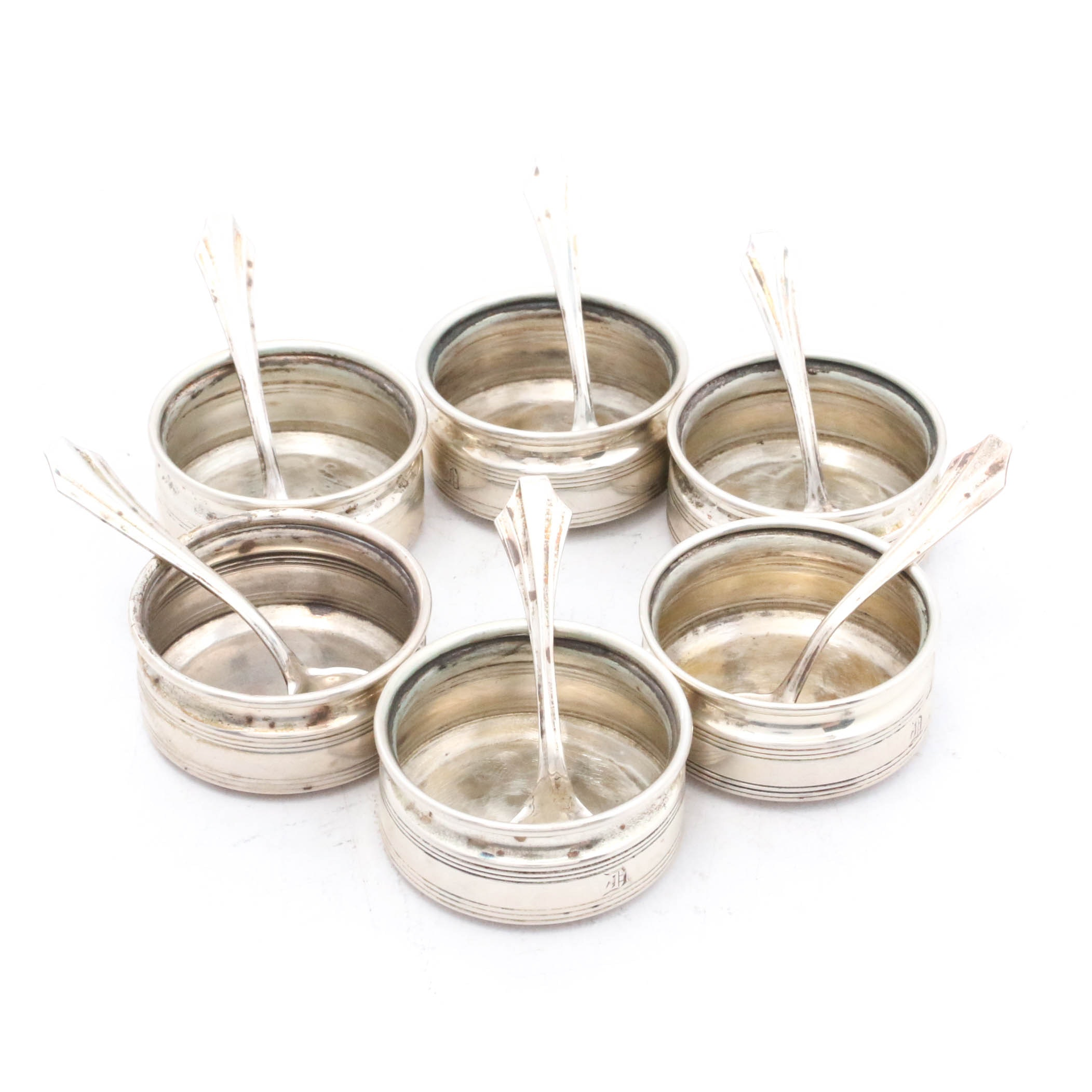 Sterling Silver Open Salt Cellars with Spoons