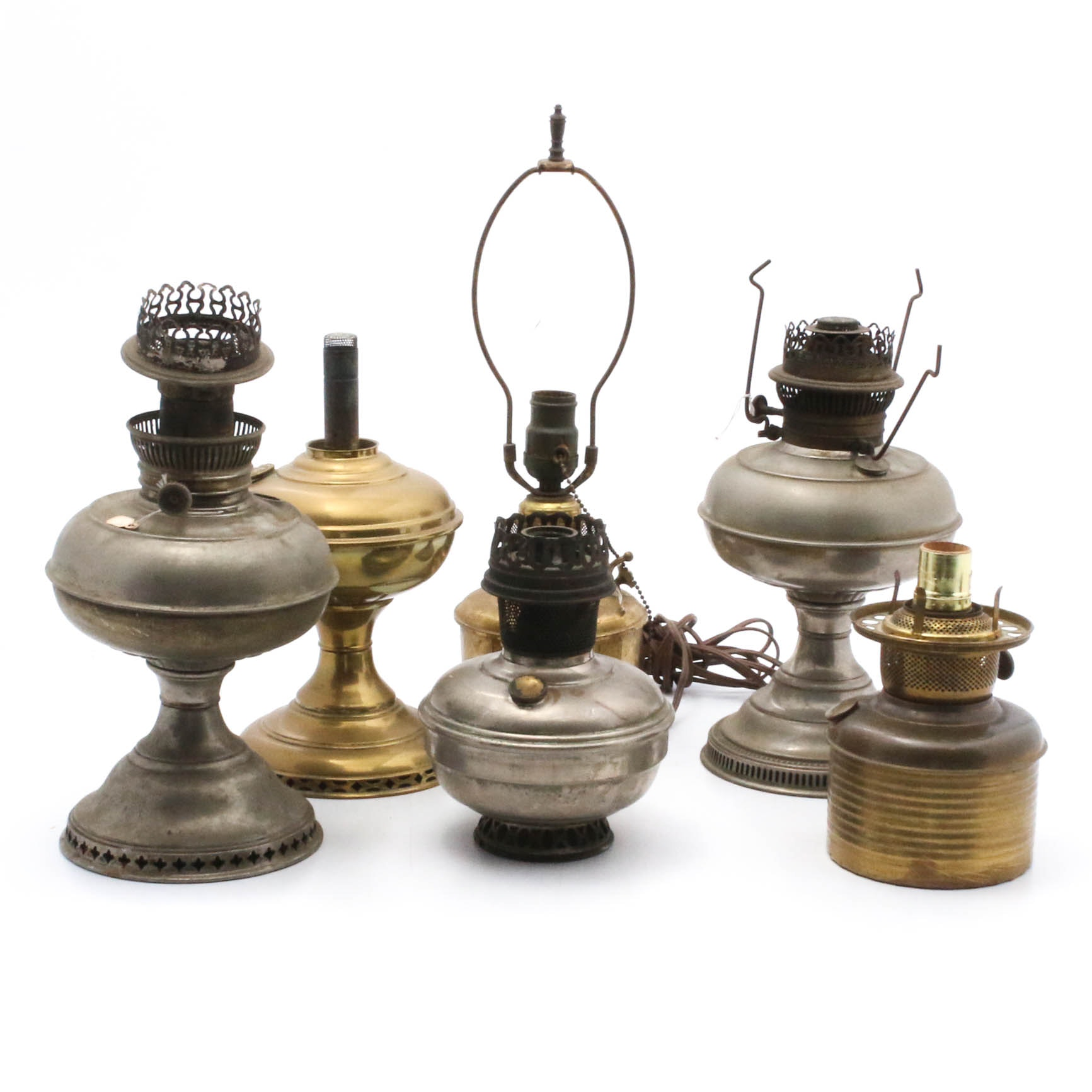 Oil Lamps, Fonts, and Converted Table Lamps, Early 20th Century