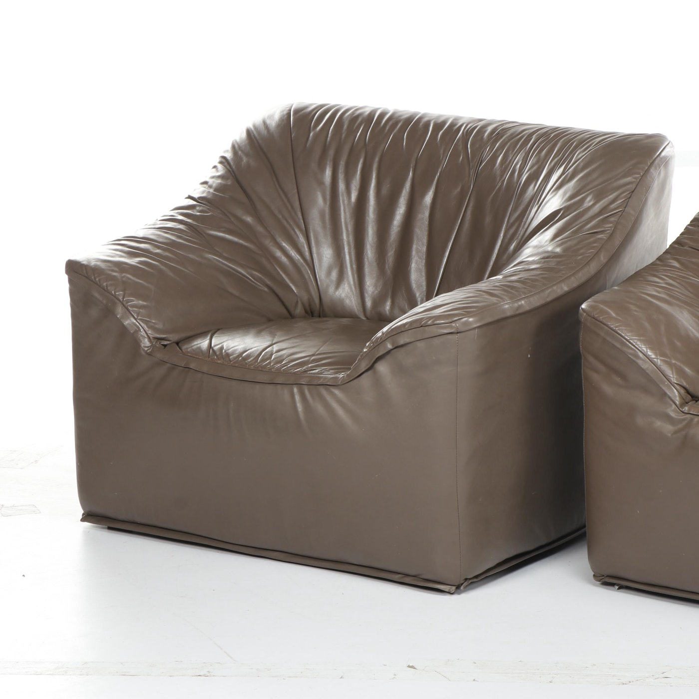 Burris Industries Gray Leather Club Chairs Circa 1980 Ebth