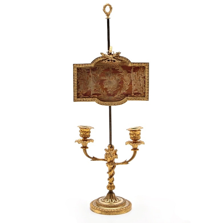 Louis XVI Style Gilt Bronze Candelabra with Adjustable Screen Early 19th Century