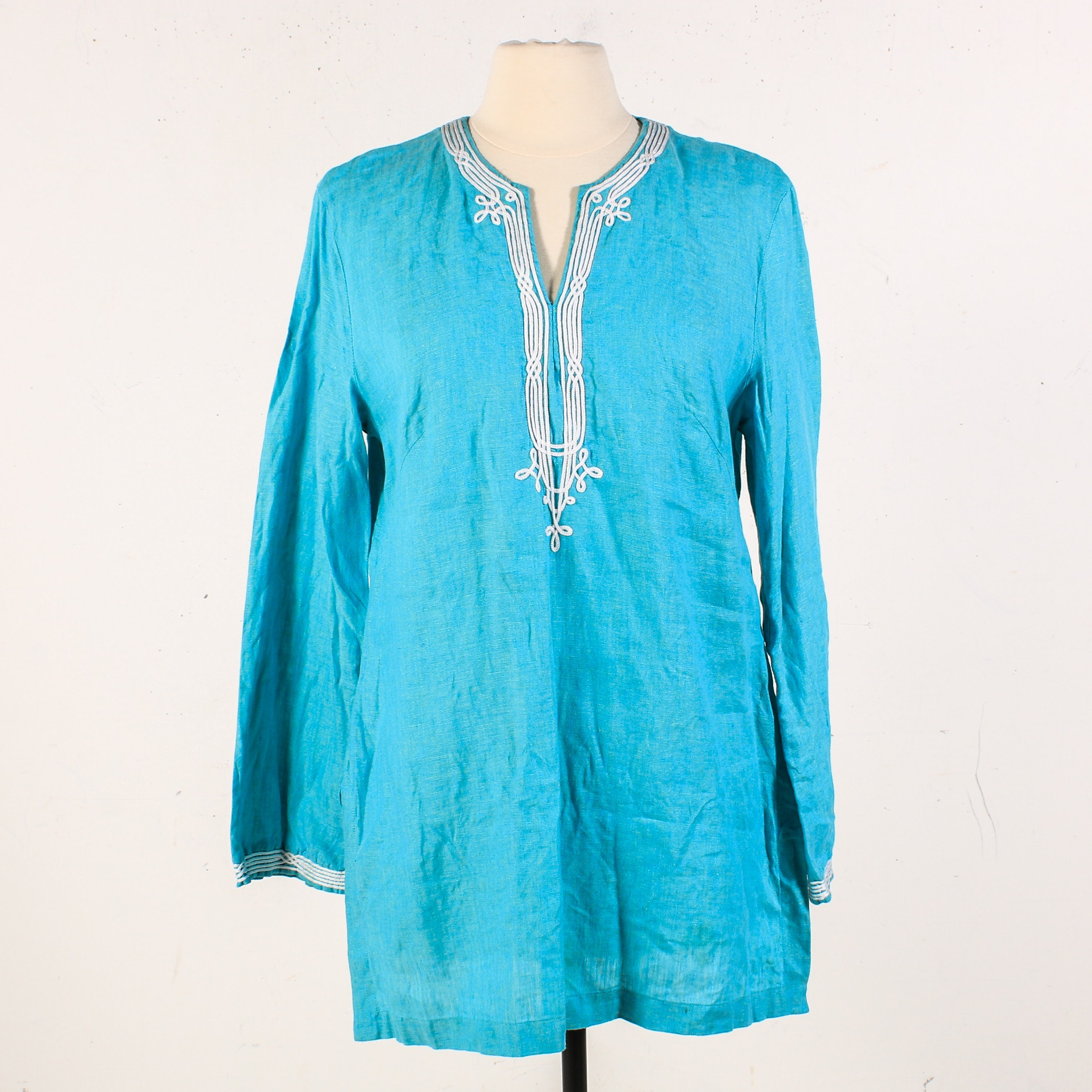 Escada Embellished Blue Linen Tunic Shirt