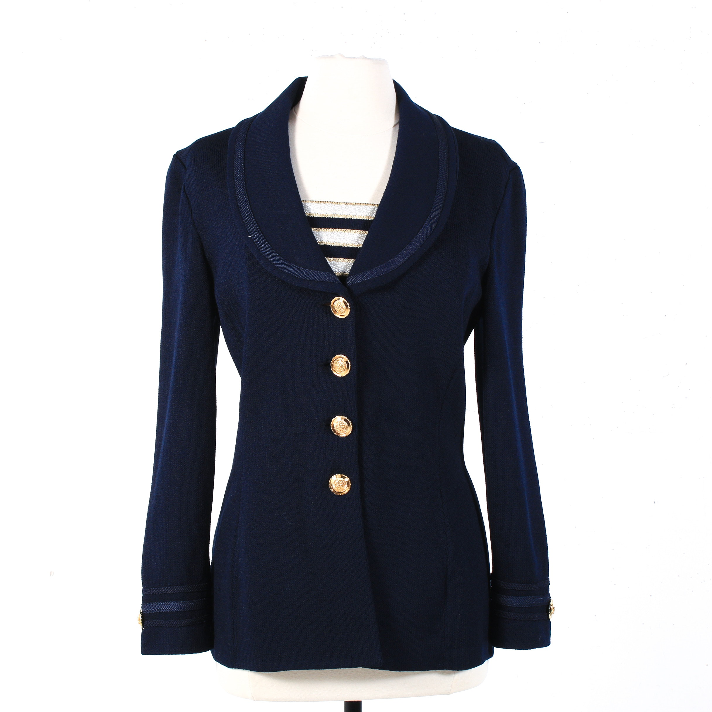 St. John Collection Nautical Style Knit Jacket with Detachable Dickey