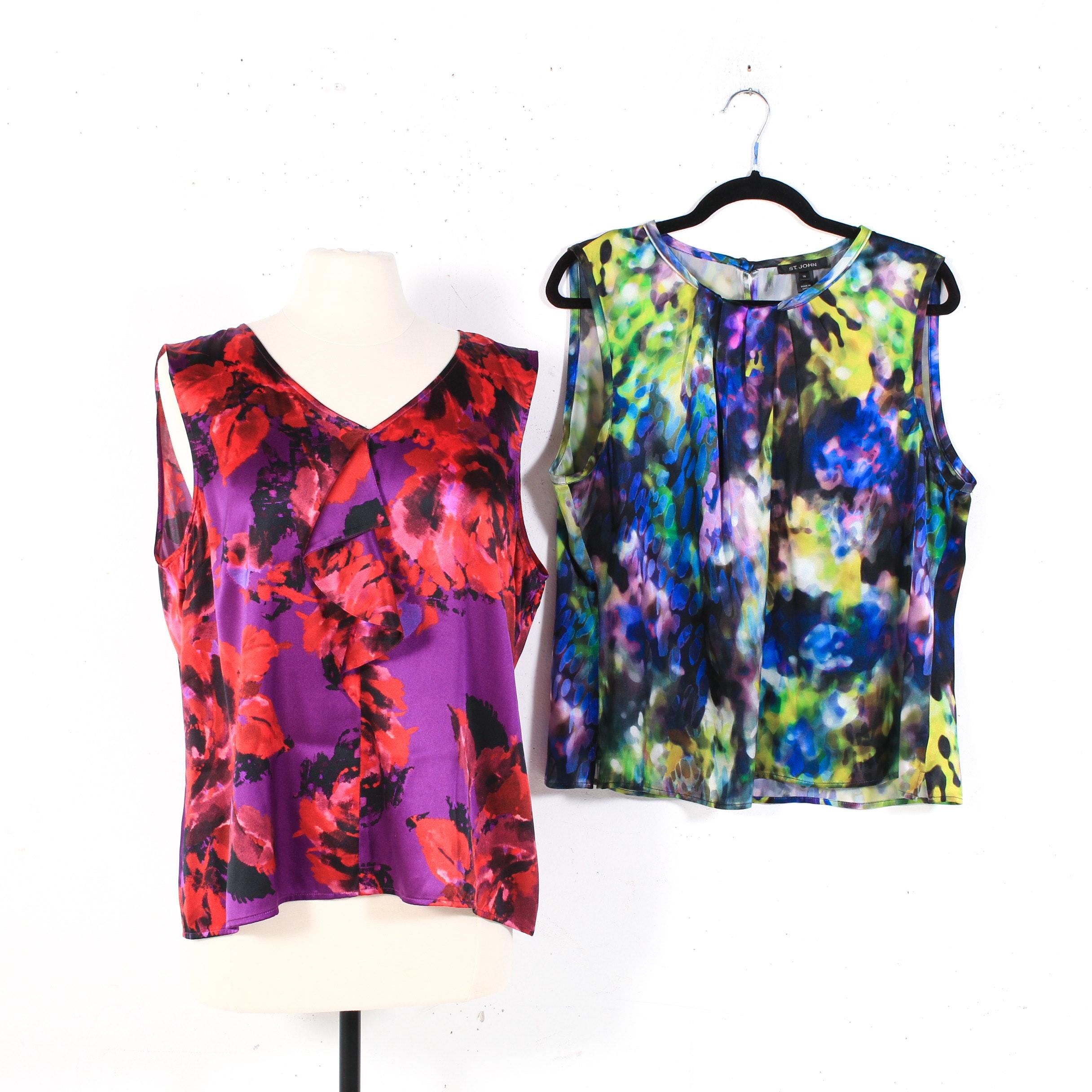 St. John Multicolor Silk Blend Sleeveless Blouses