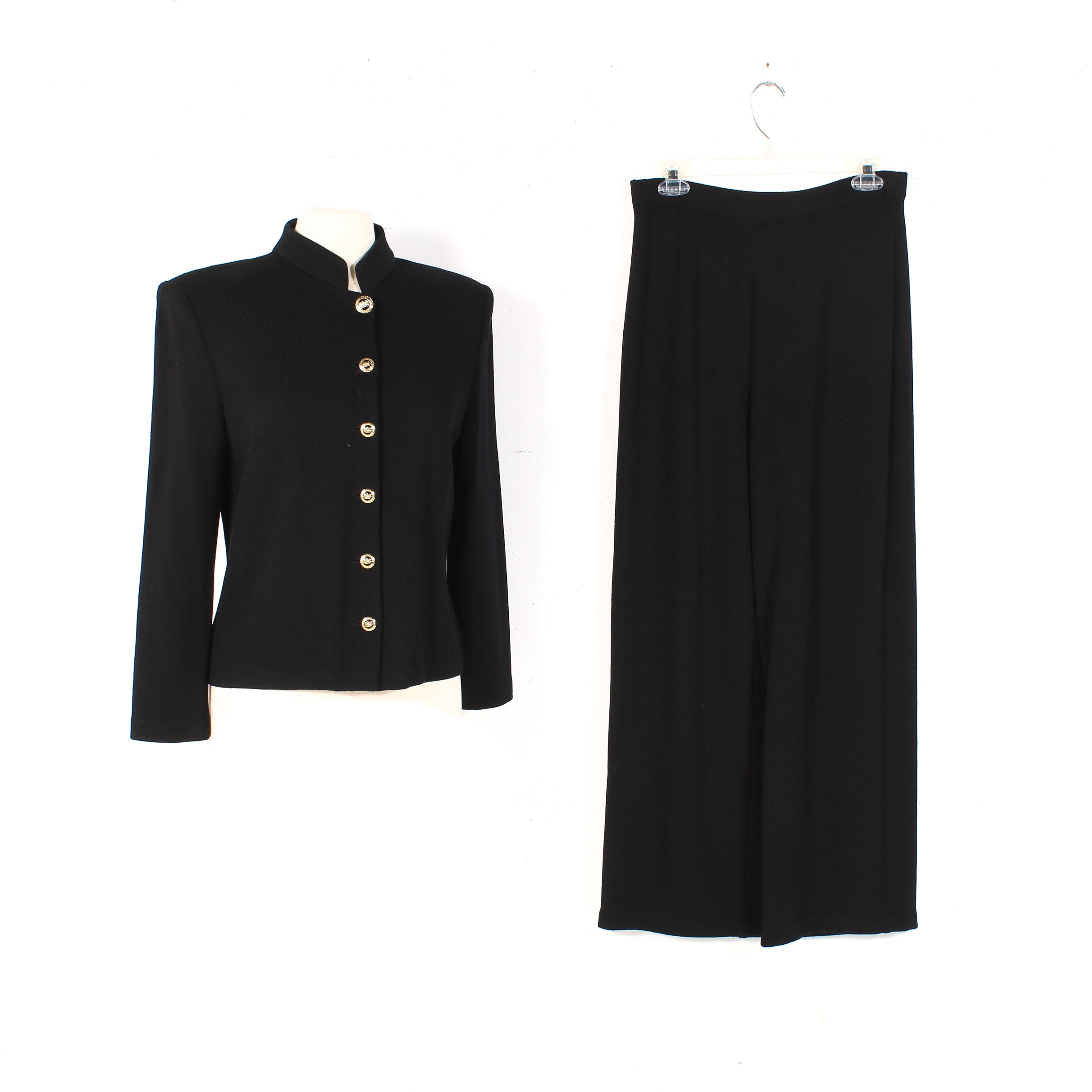St. John Basics Knit Mandarin Collar Button-Front Jacket and Wide-Leg Pants