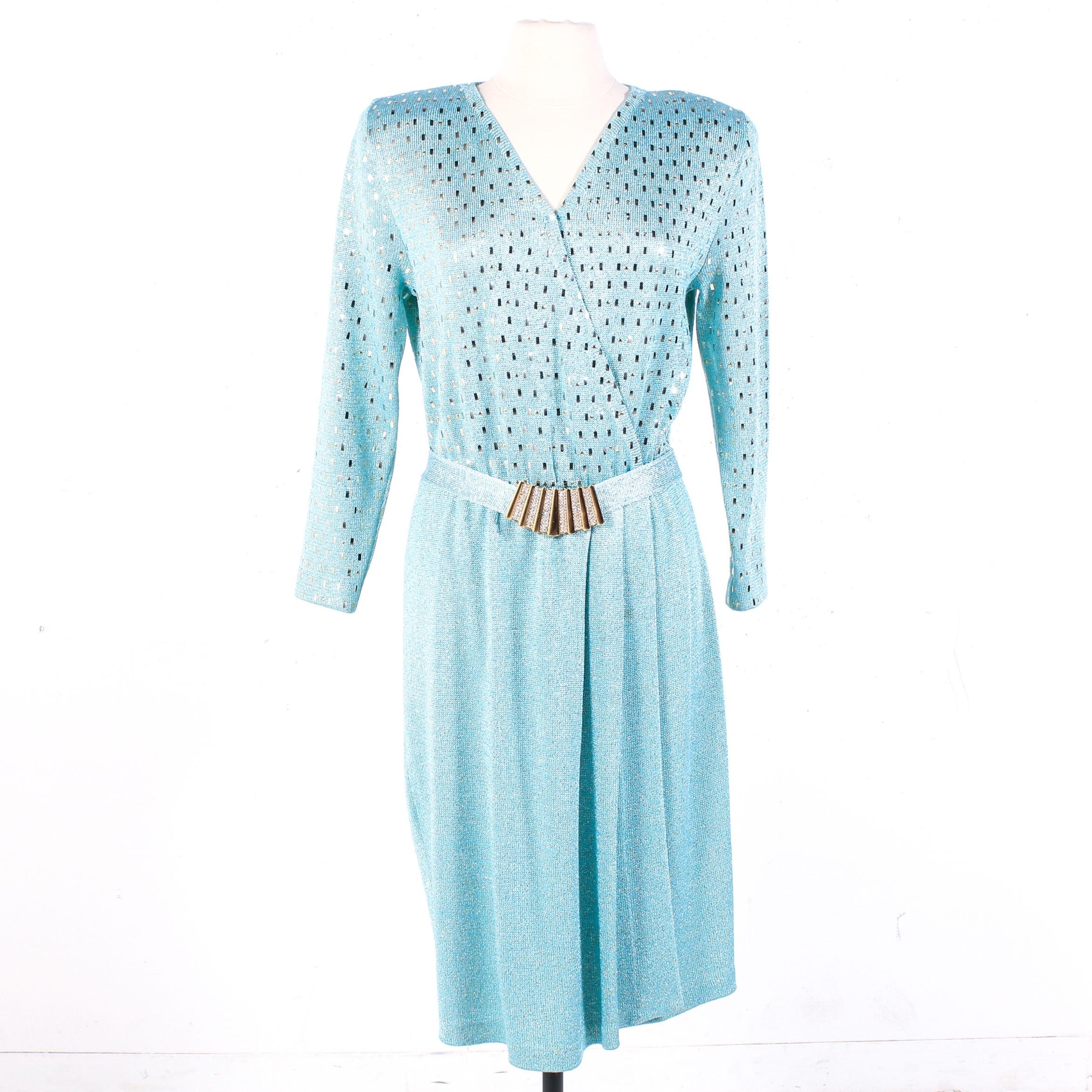 St. John Metallic and Light Blue Knit Faux Wrap Dress, Vintage