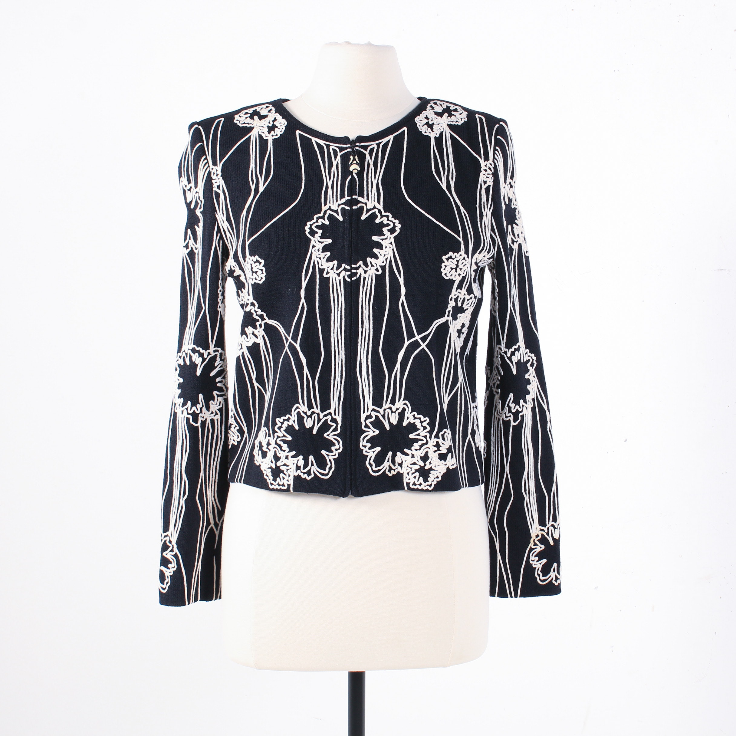 St. John Collection Chain Stitched Floral Knit Jacket