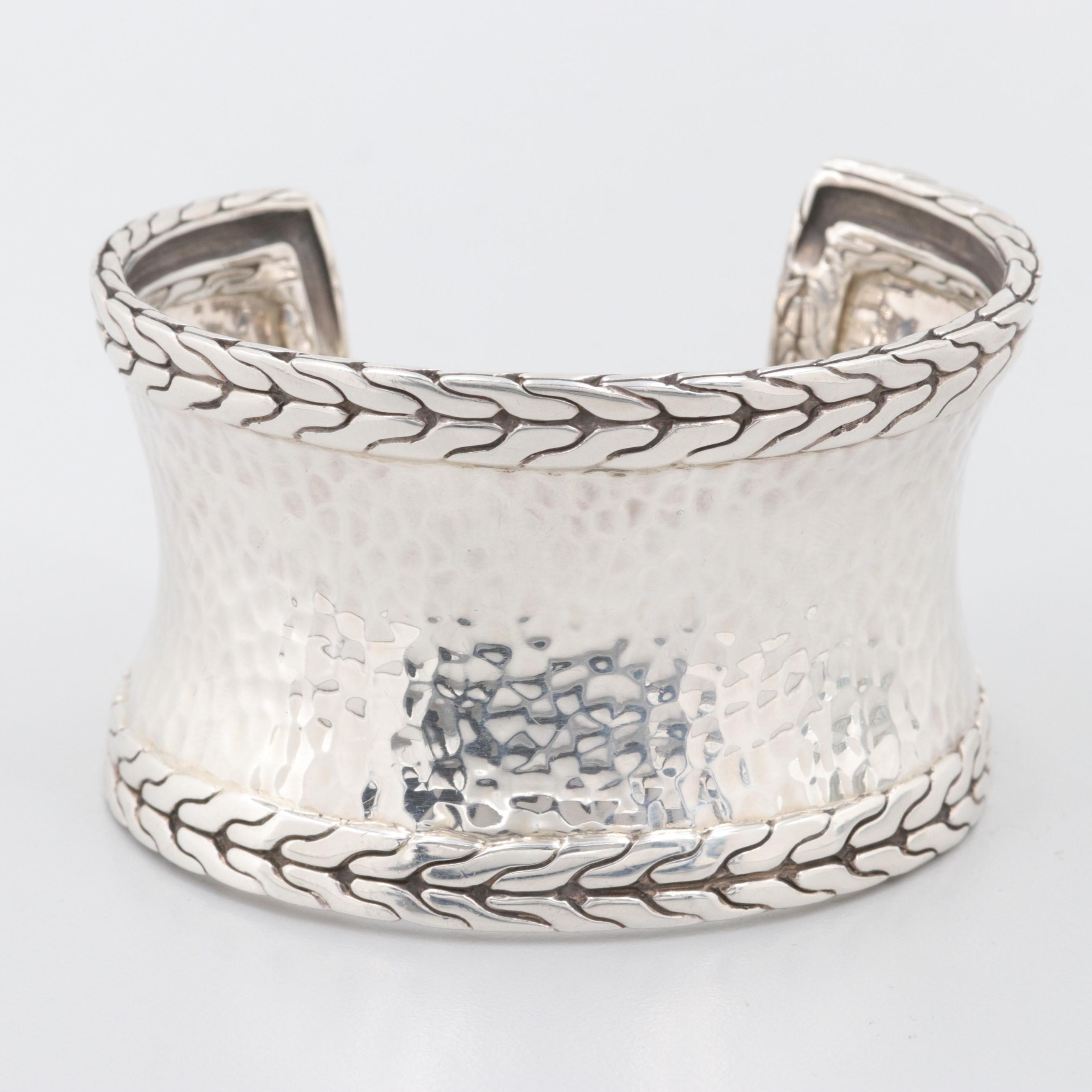 "John Hardy ""Palu Macan"" Sterling Silver Hammered Cuff Bracelet"