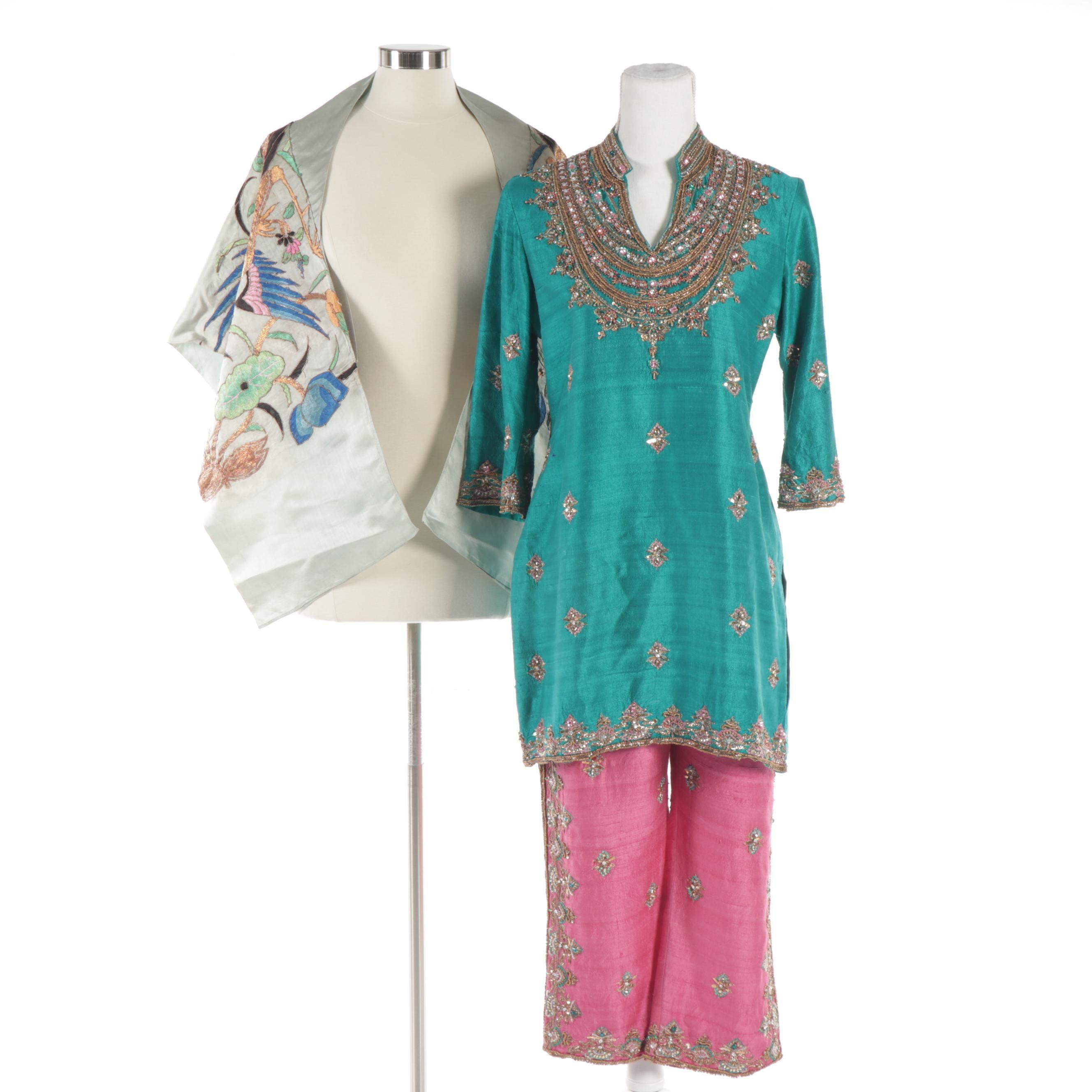 Women's Shefaali Hegde for Sahil Beaded Silk Garments and Silk Embroidered Shawl