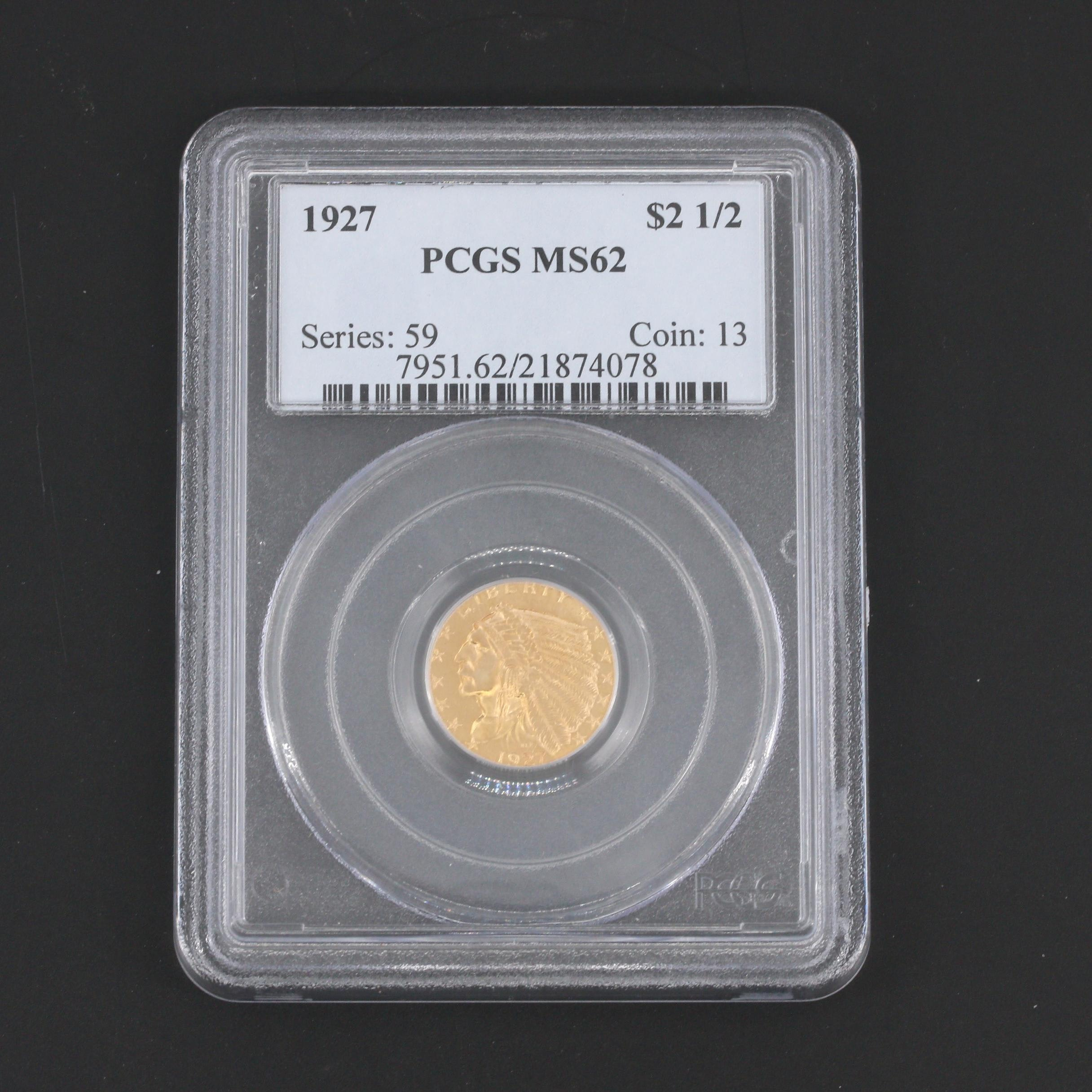PCGS Graded MS62 1927 Indian Head Quarter Eagle $2.50 Gold Coin