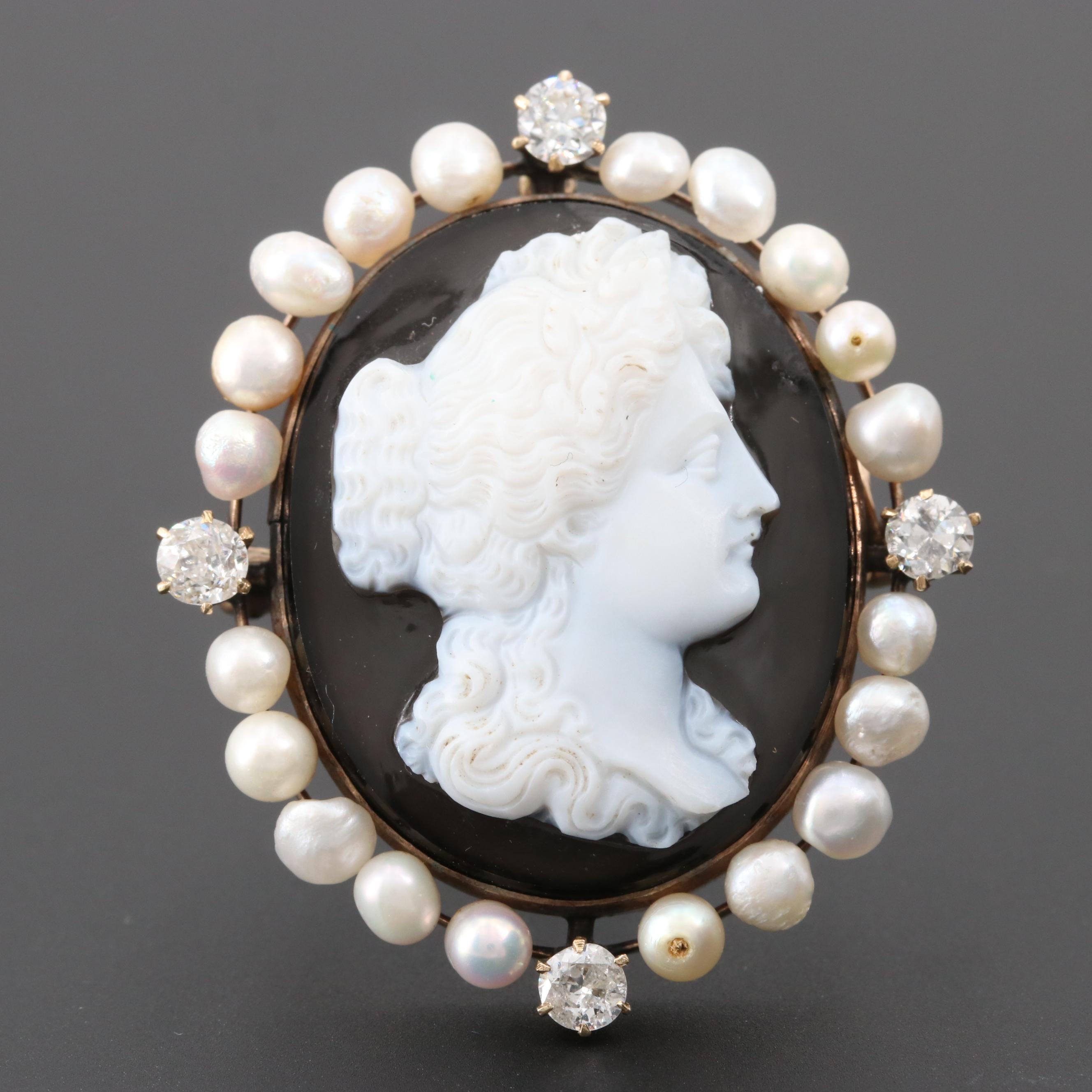 Early 1900s 10K Yellow Gold Carved Onyx Cameo with Pearl and Diamond Accents