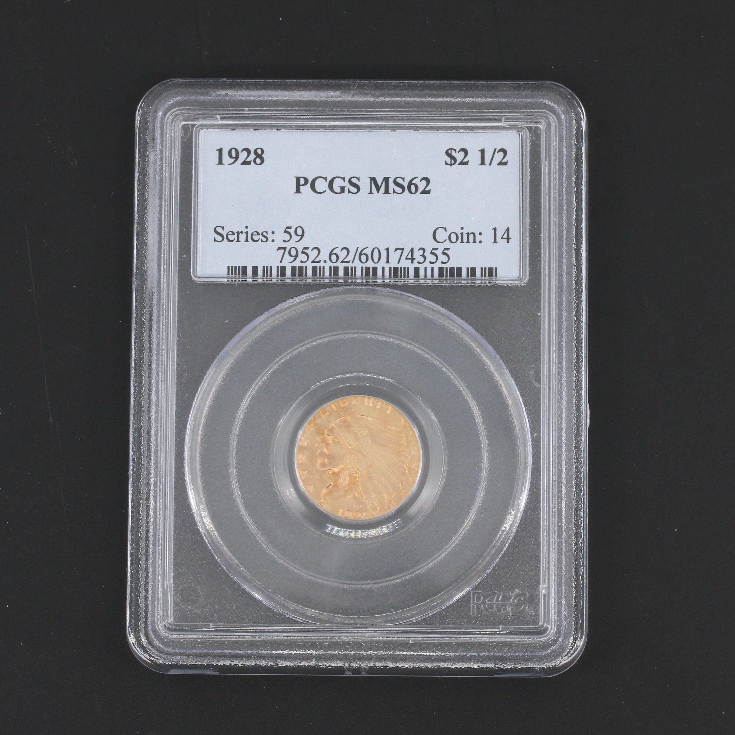 PCGS Graded MS62 1928 Indian Head Quarter Eagle $2.50 Gold Coin