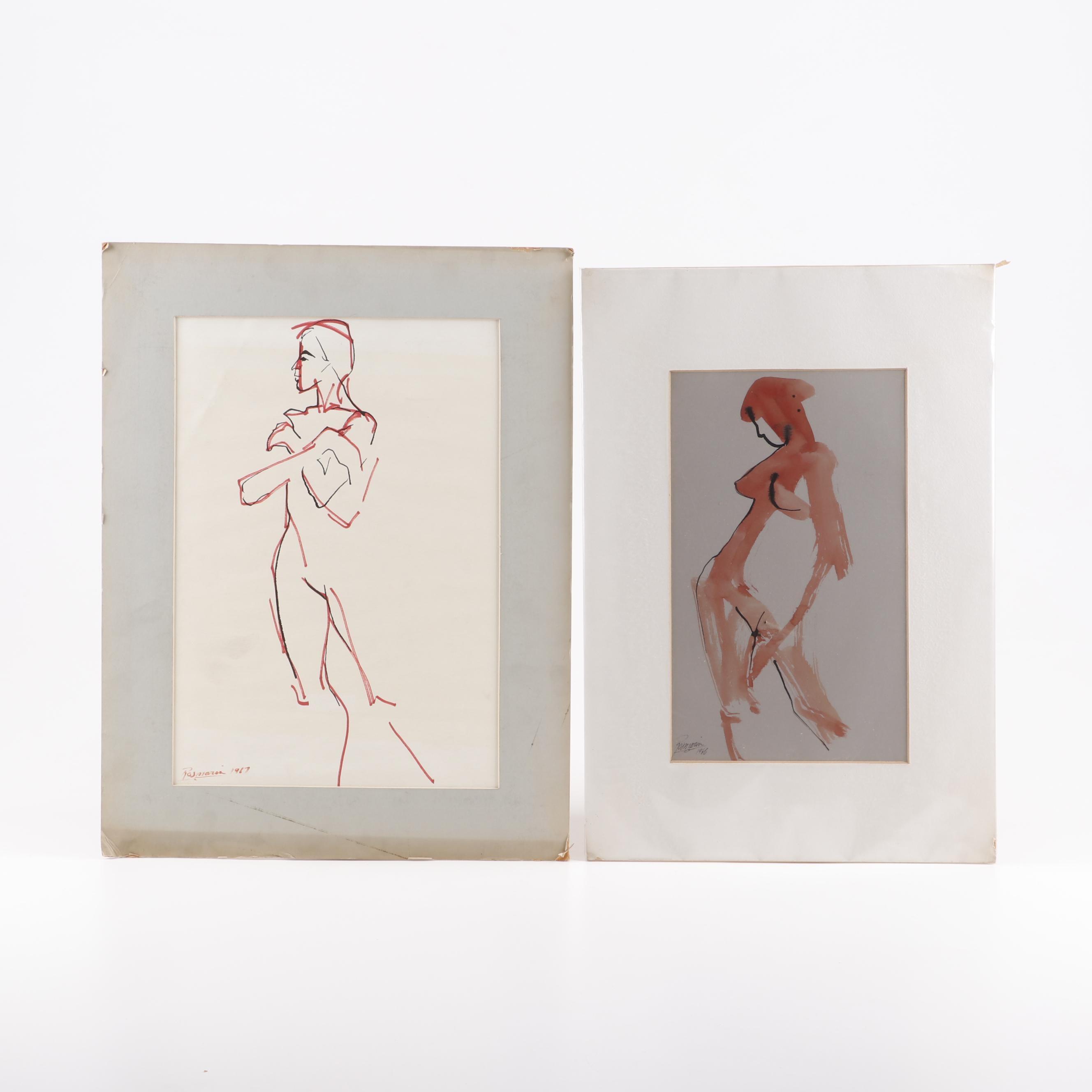 Richard Rosmarin Nude Drawings, Late 20th Century