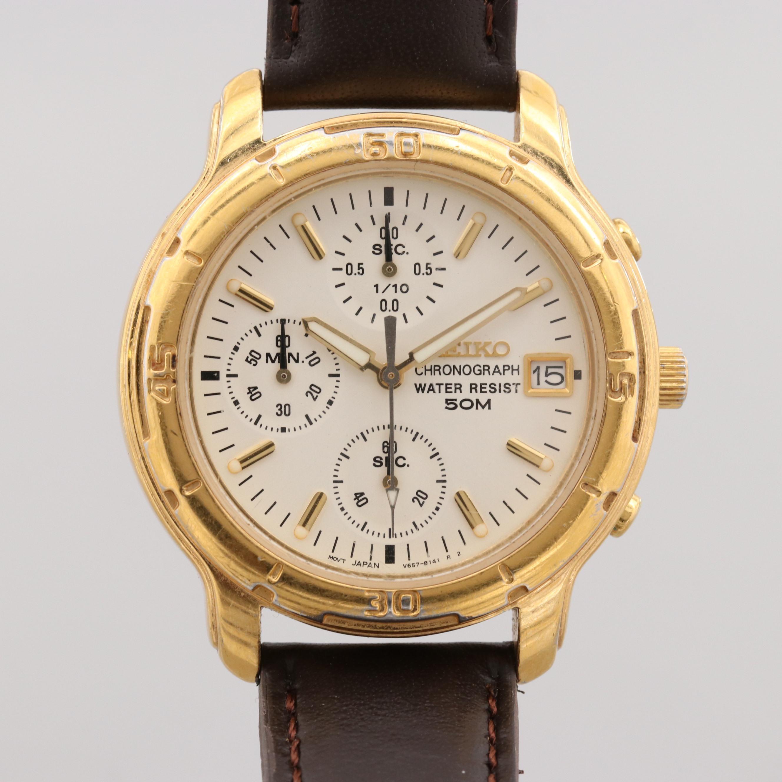 Seiko Chronograph Wristwatch With Date Window