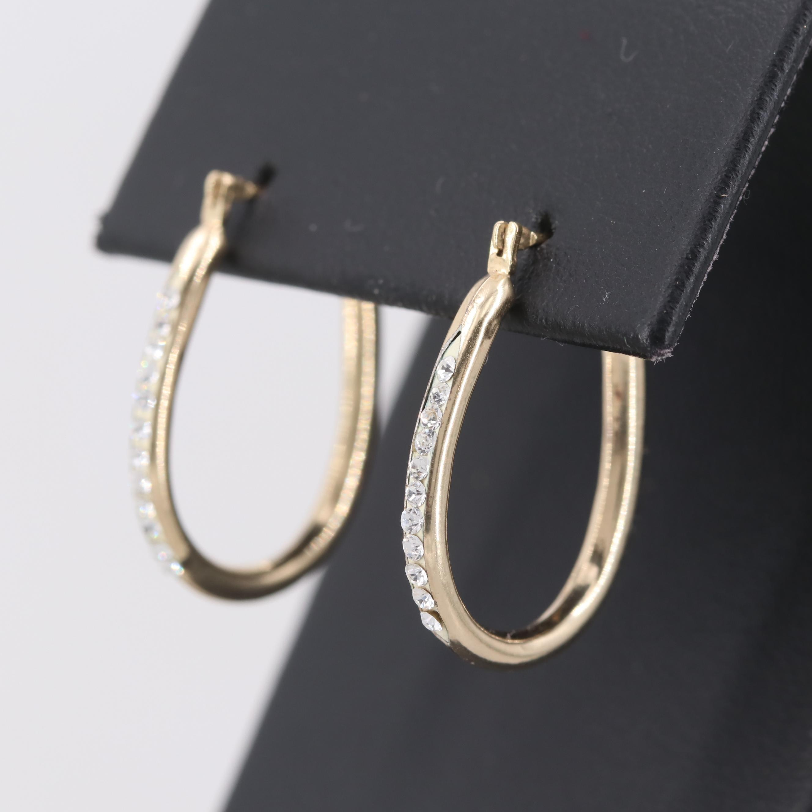 Gold Filled Sterling Silver Glass Crystal Hoop Earrings