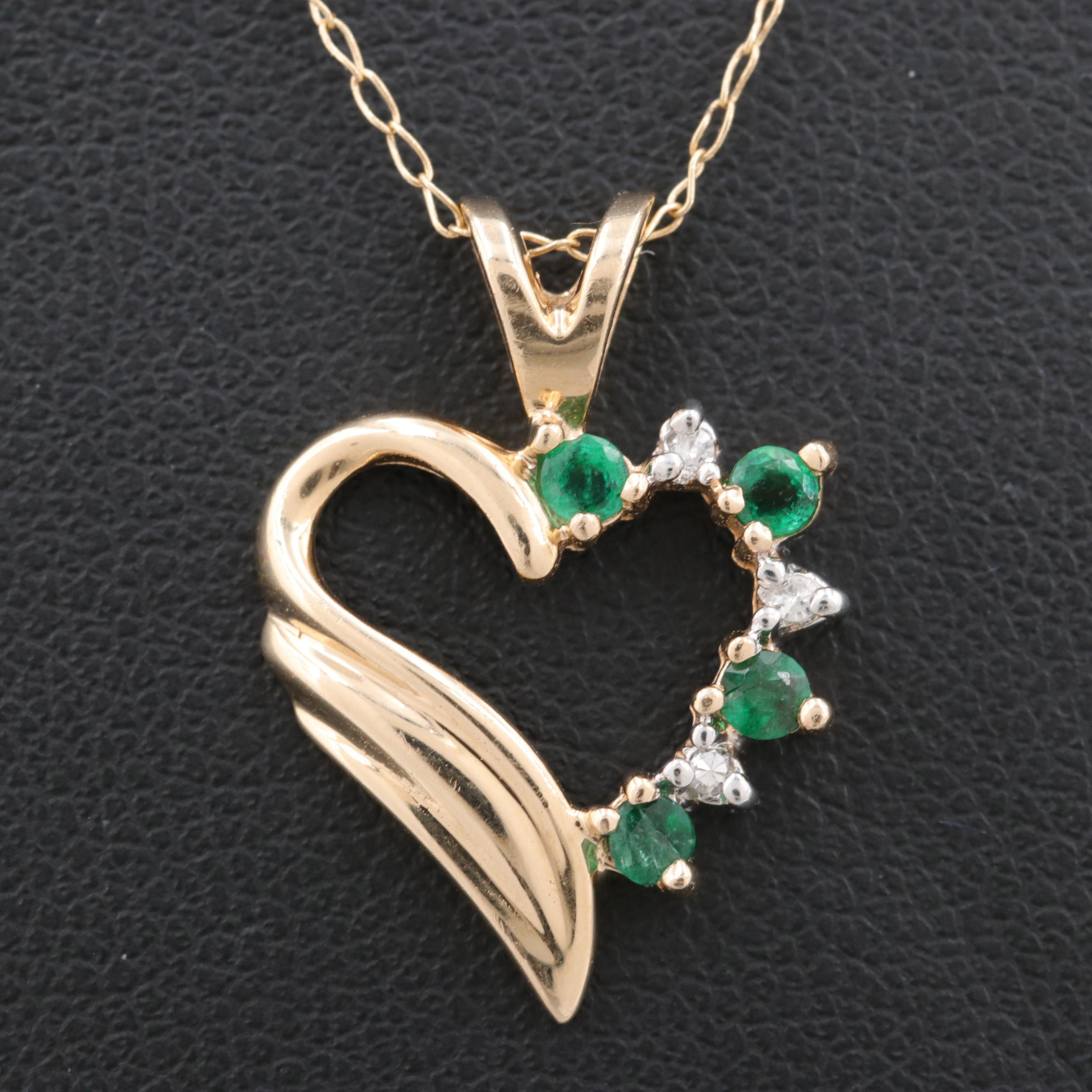 Alwand Vahan 14K Yellow Gold Emerald and Diamond Heart Shaped Pendant Necklace