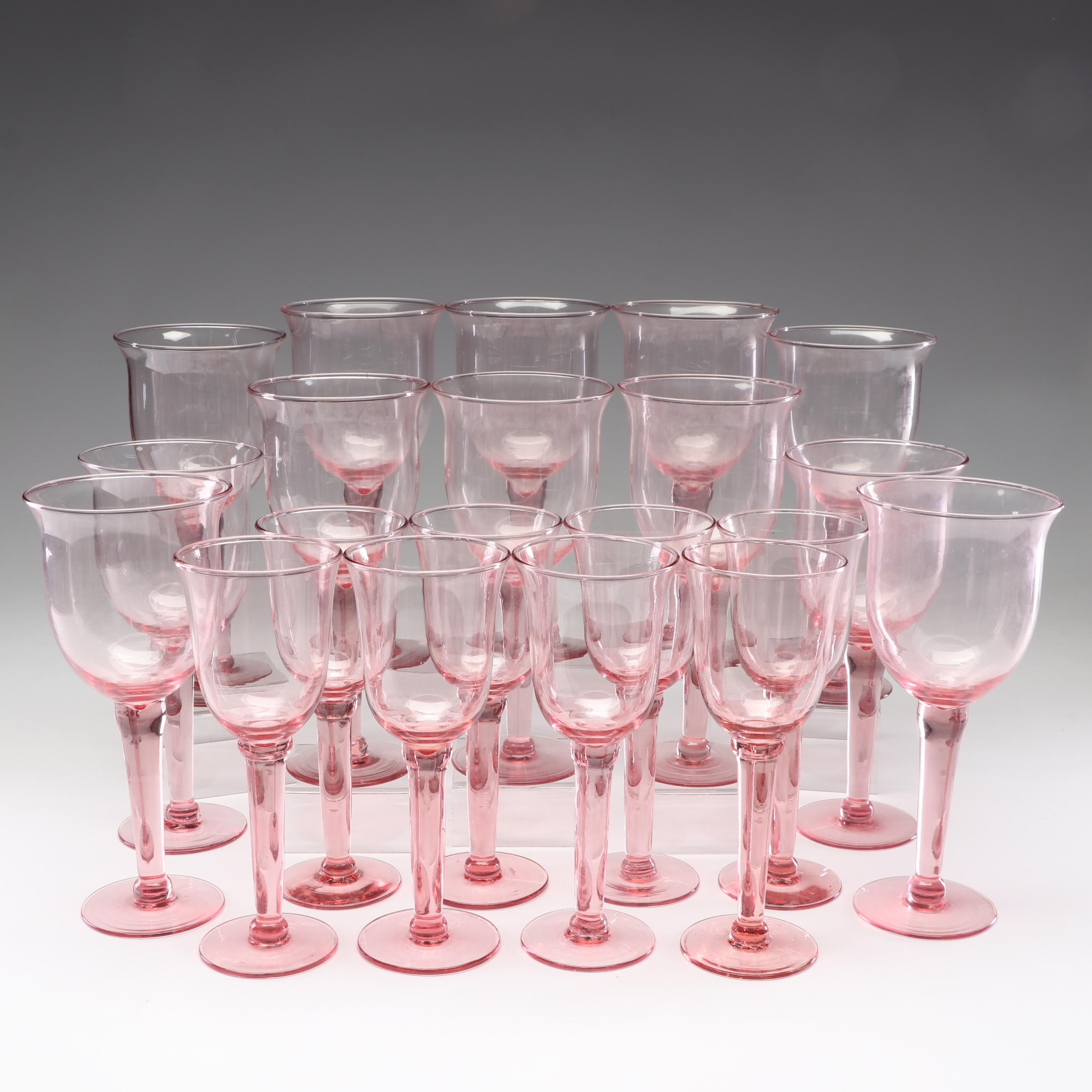 Blown Art Glass Pink Stemware, Contemporary