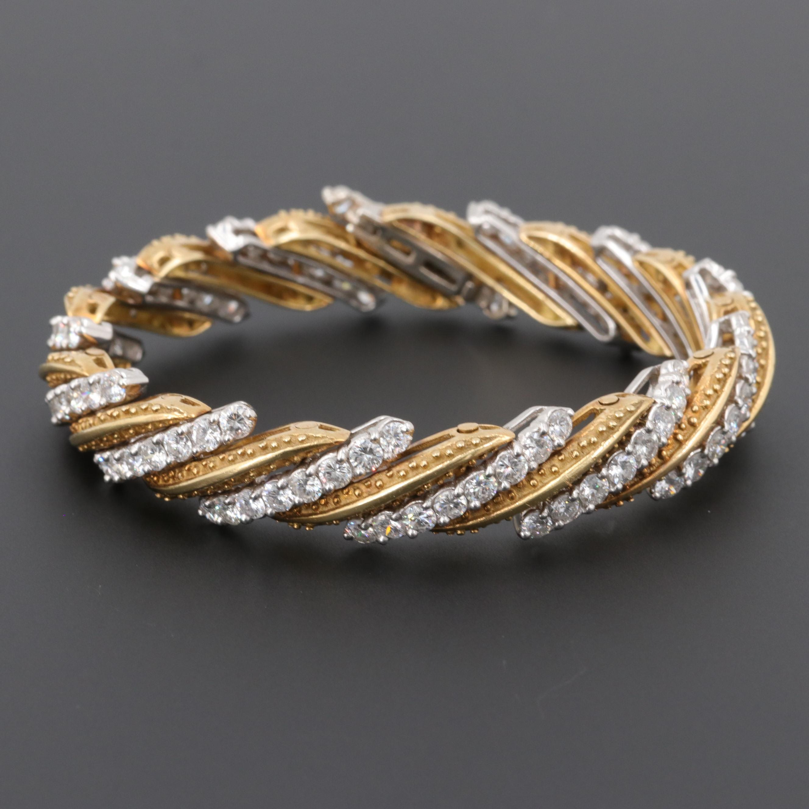 18K Yellow Gold and Platinum 8.52 CTW Diamond Bracelet