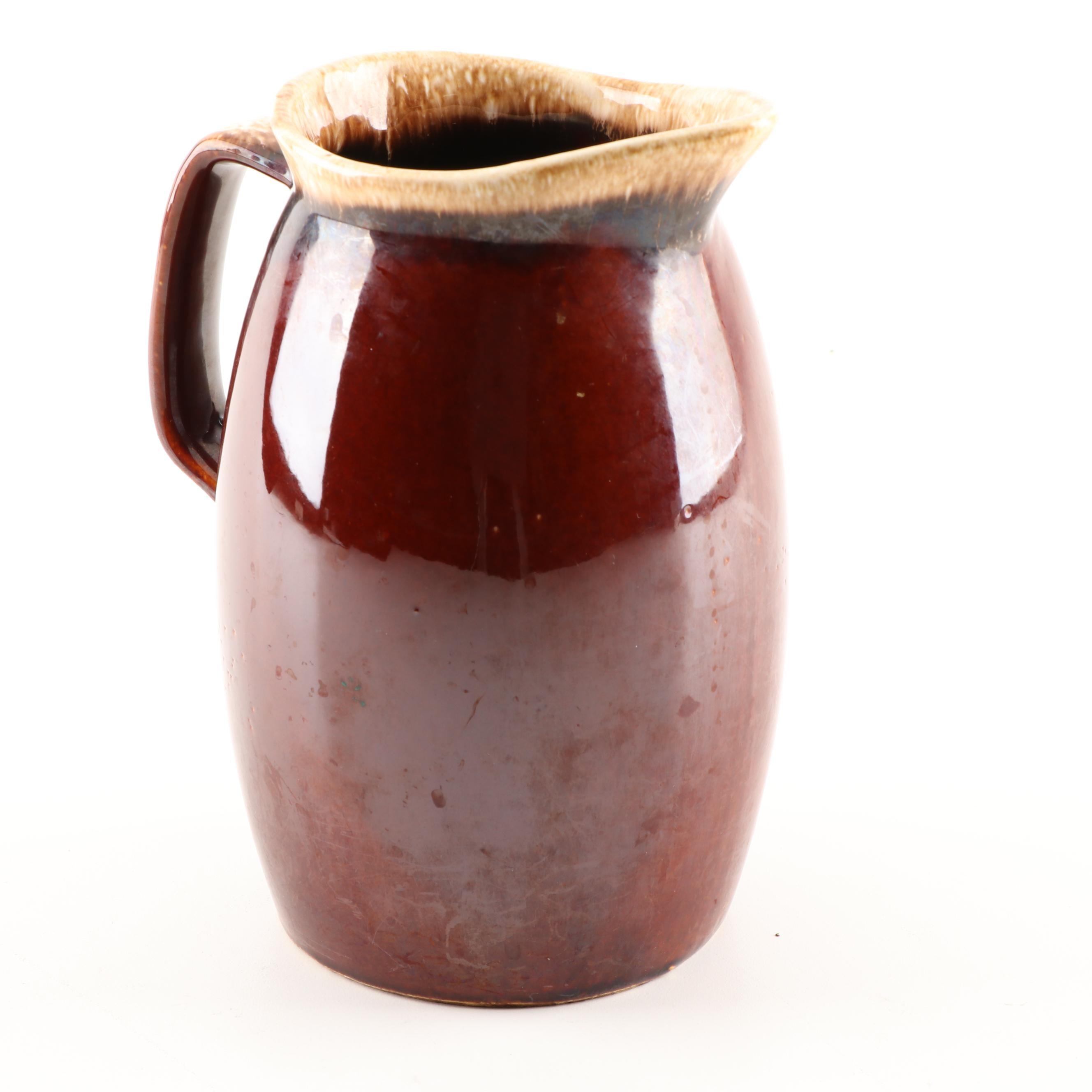 "Hull ""Brown Drip"" Ceramic Pitcher"