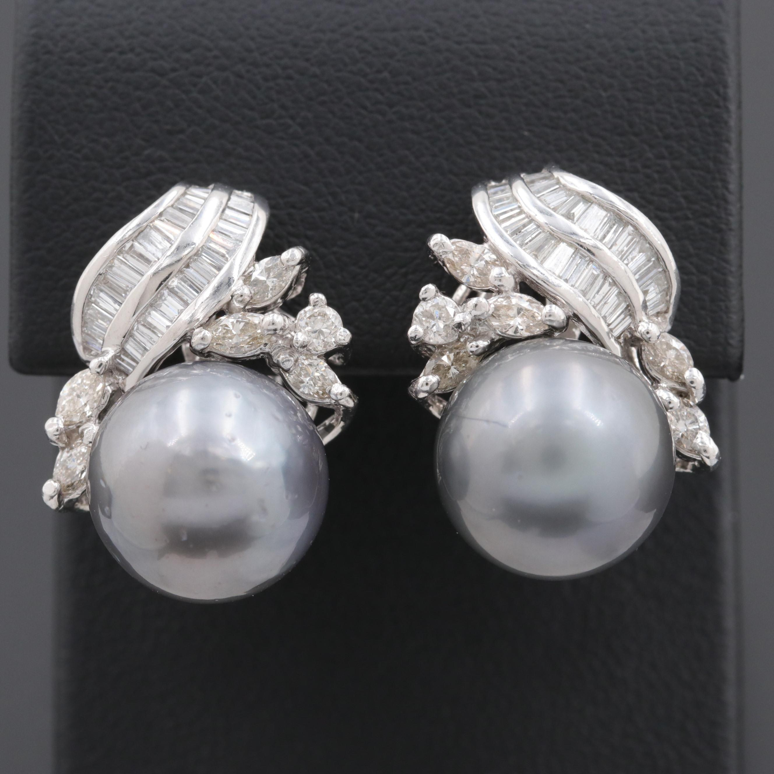 Platinum Cultured Pearl and 1.42 CTW Diamond Earrings