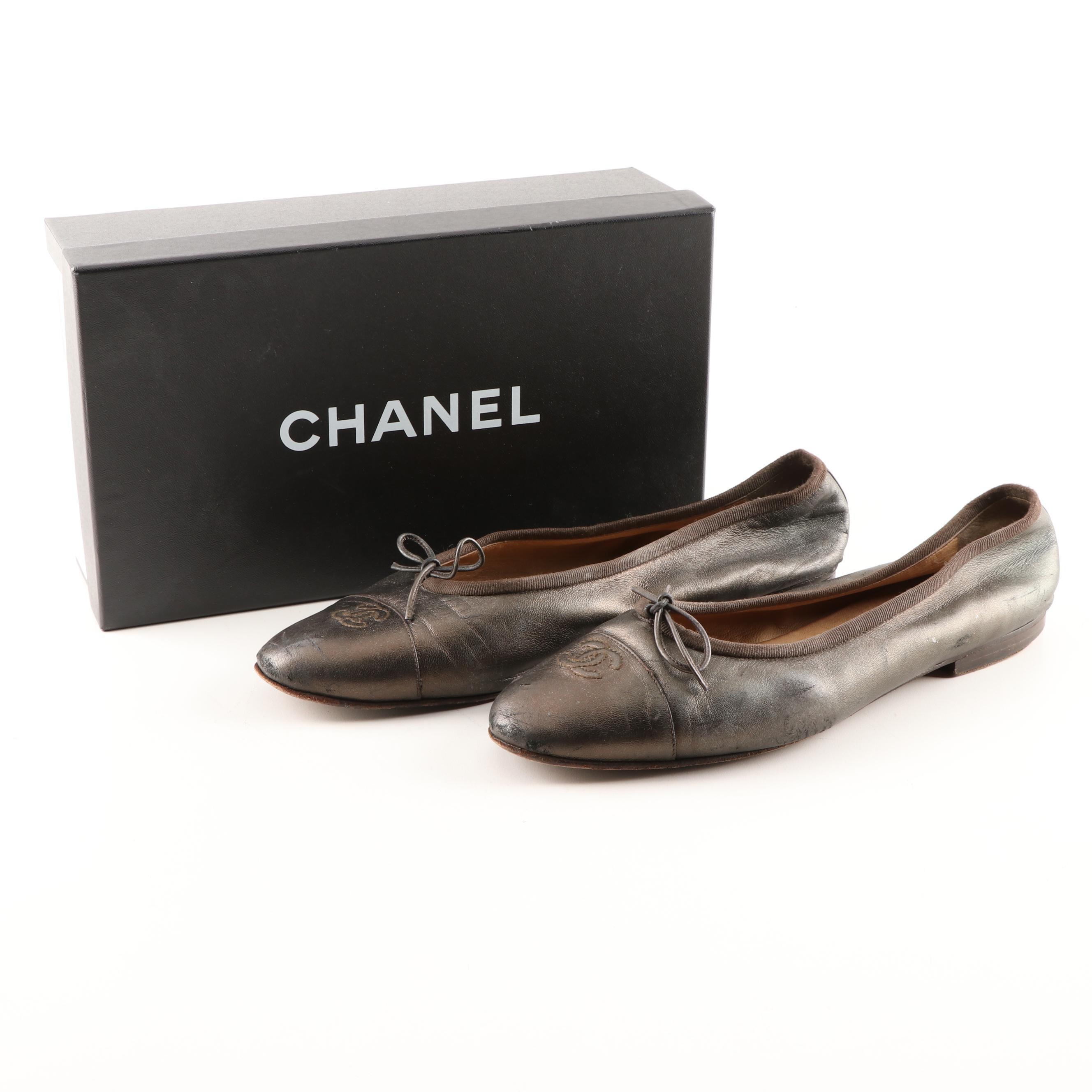 Chanel CC Logo Metallic Leather Ballet Flats