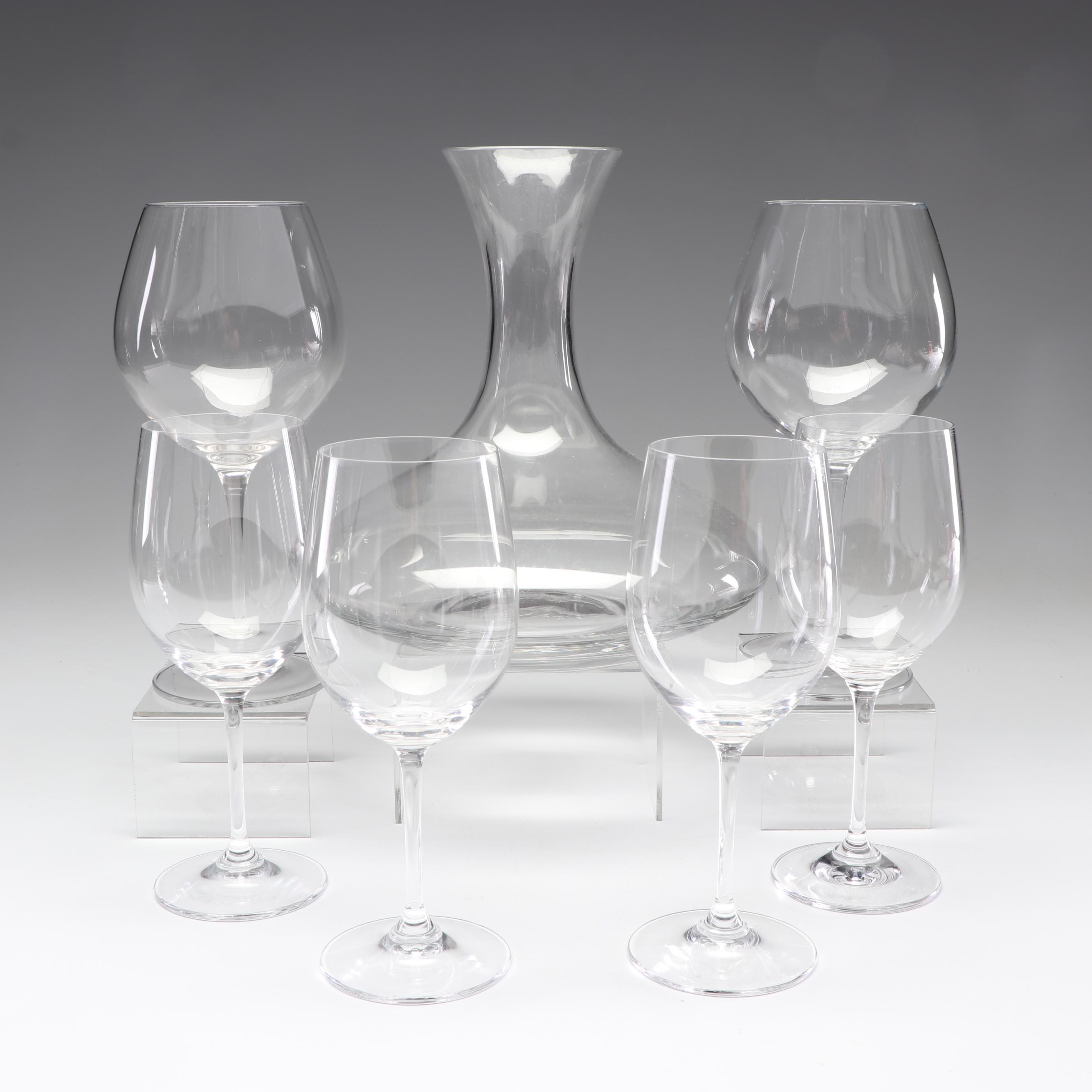 Crystal Wine Glasses and Glass Decanter