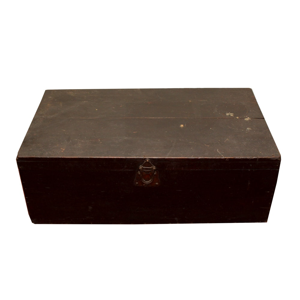Painted Wooden Storage Trunk