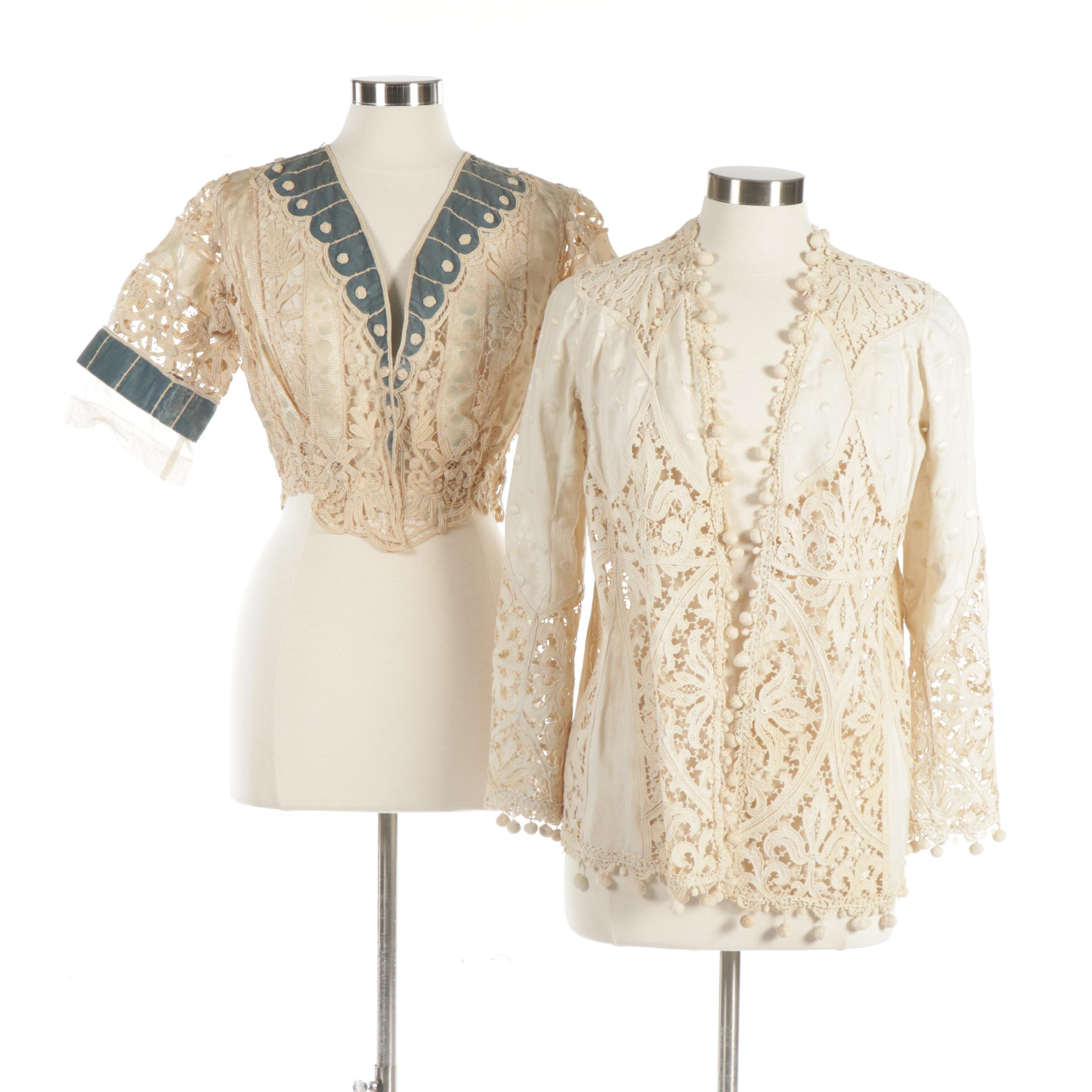 Pair of Victorian Blouses with Hand Tatted Lace