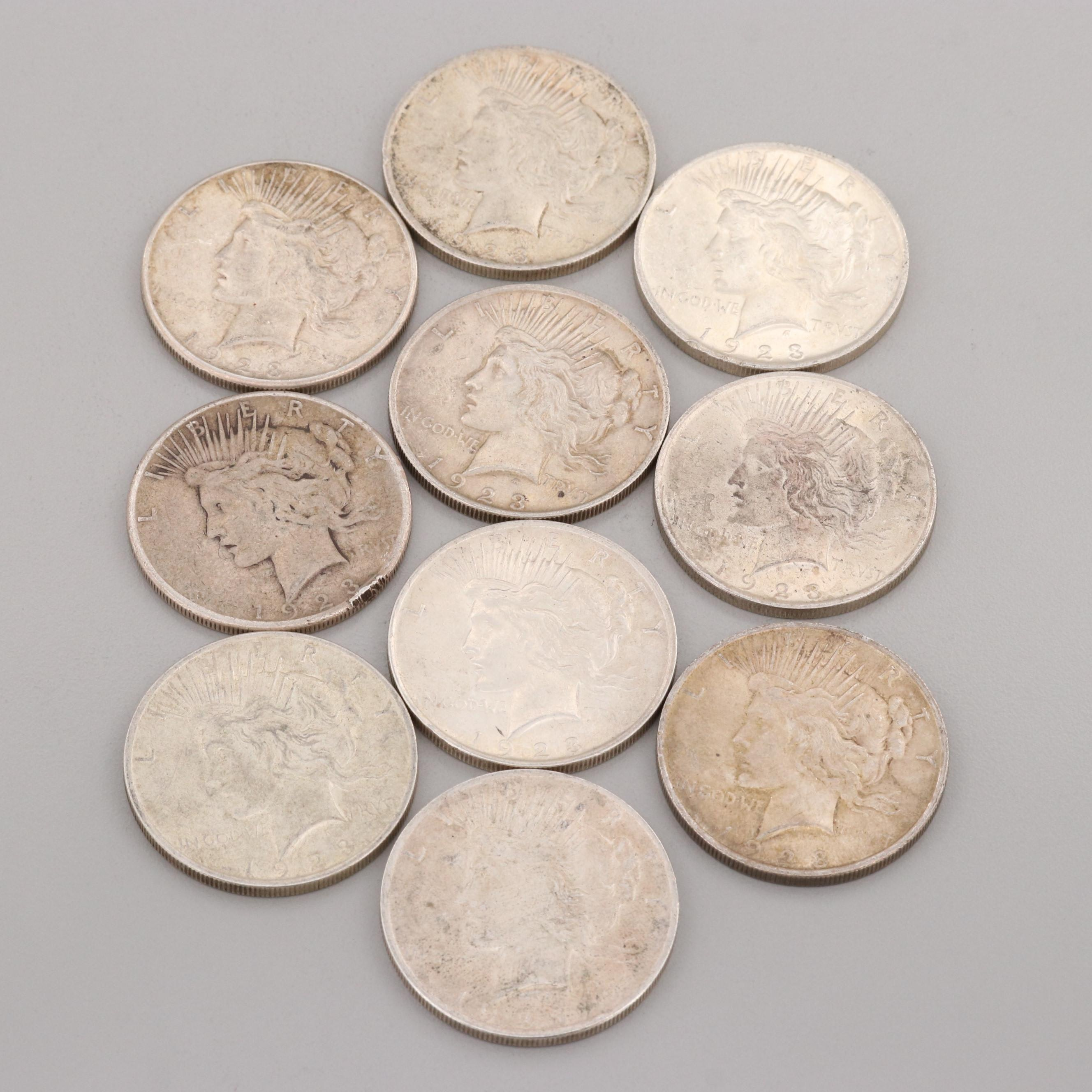 Group of Ten Silver Peace Dollars form 1923