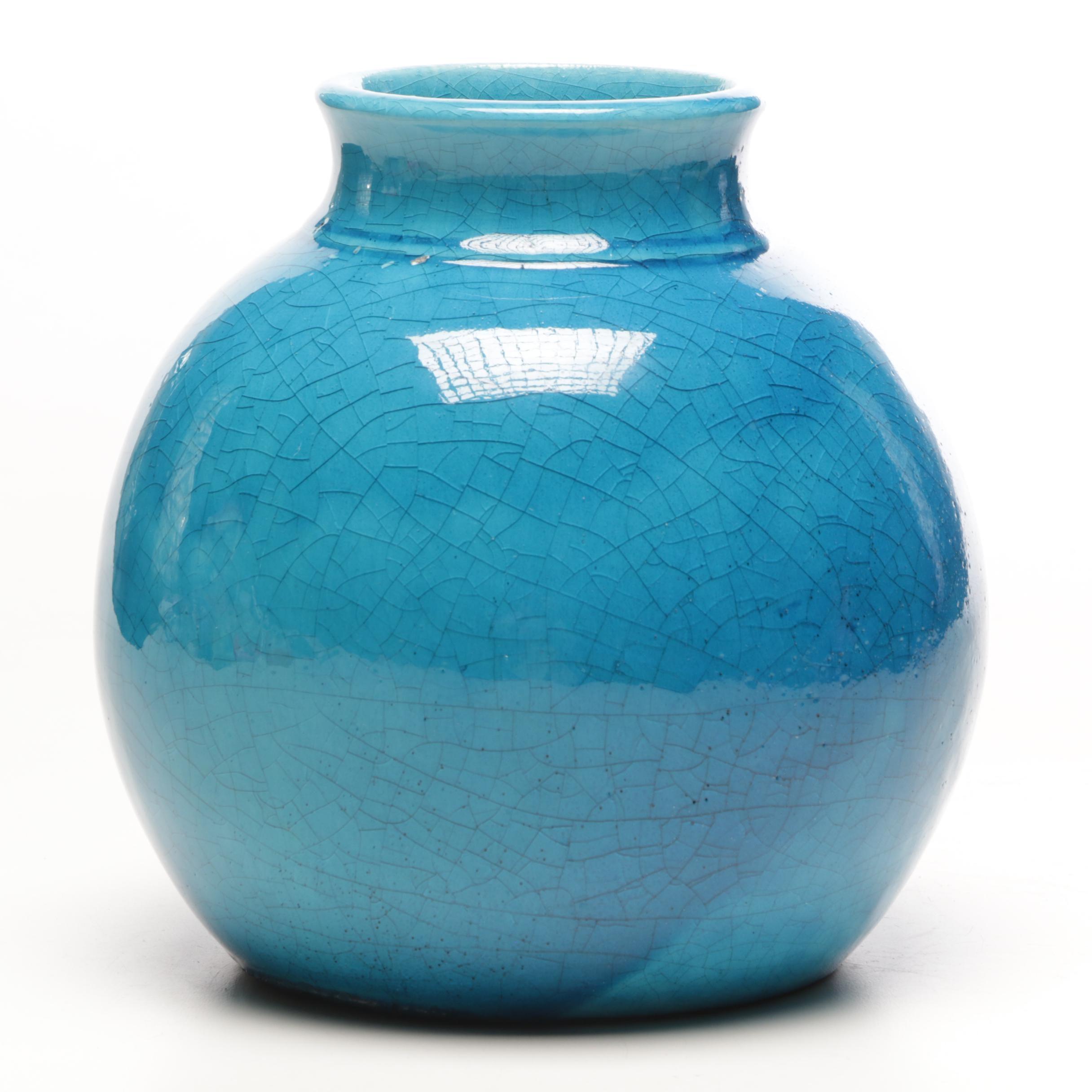 Edmond Lachenal Turquoise Gloss Glazed Vase