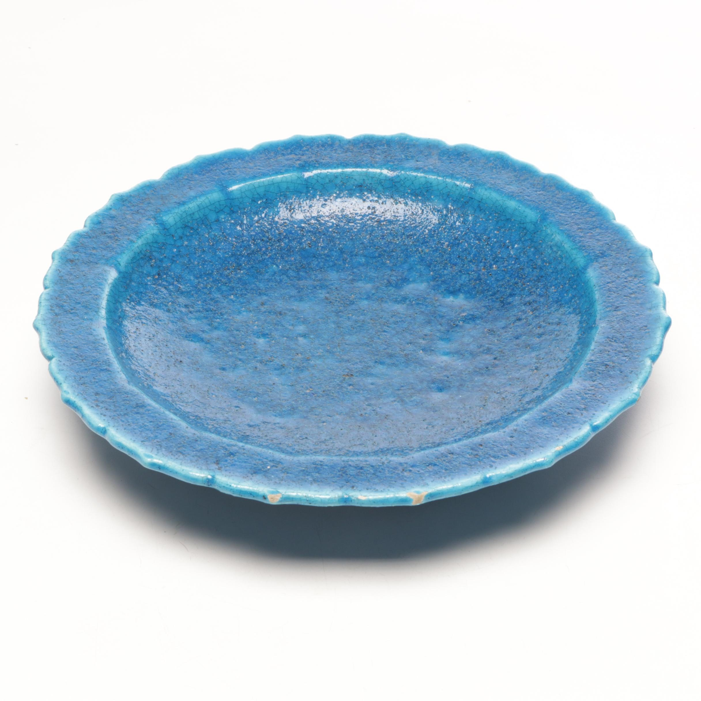 Edmond Lachenal Turquoise Acid Etched Glazed Charger