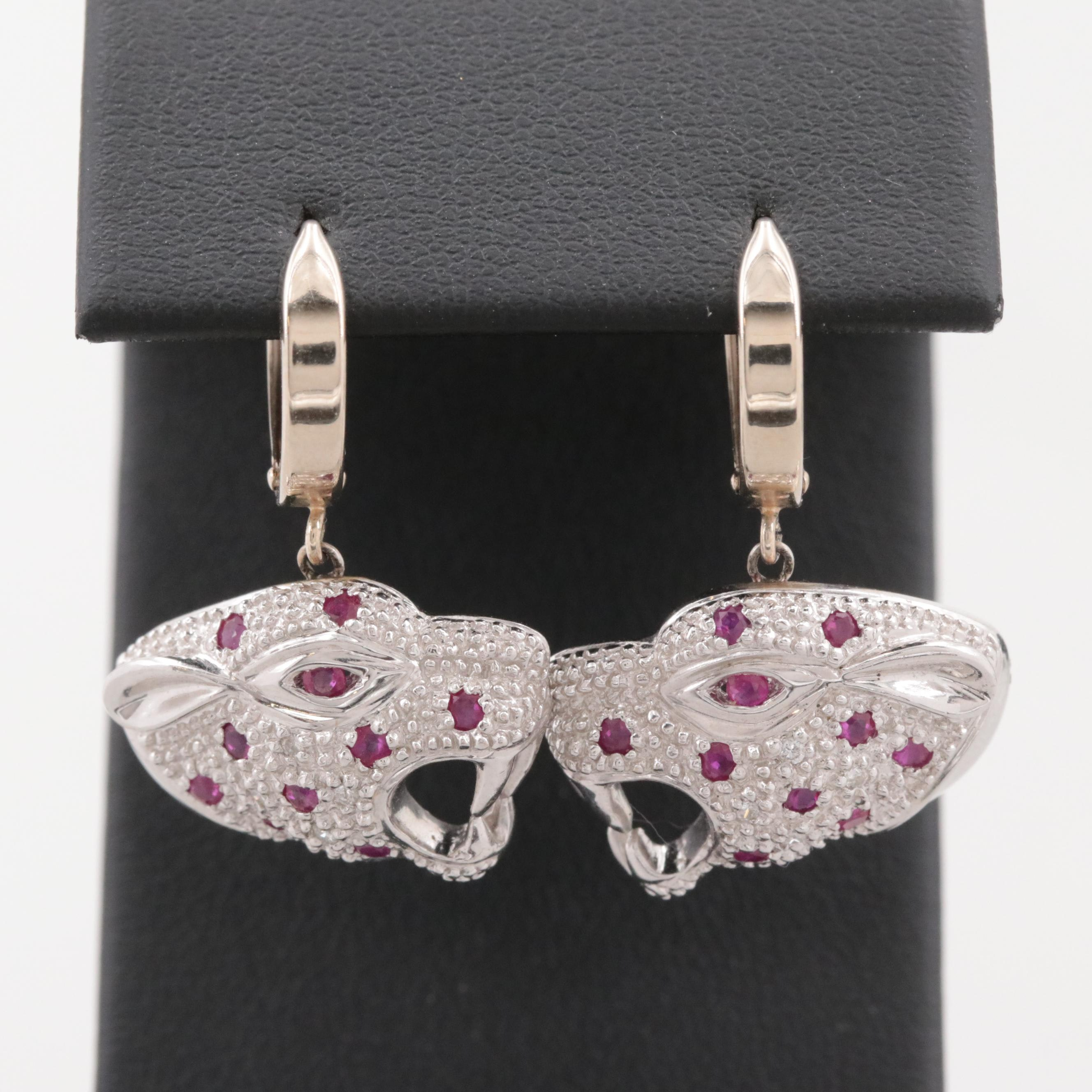 14K and 18K White Gold Ruby and Diamond Tiger Earrings