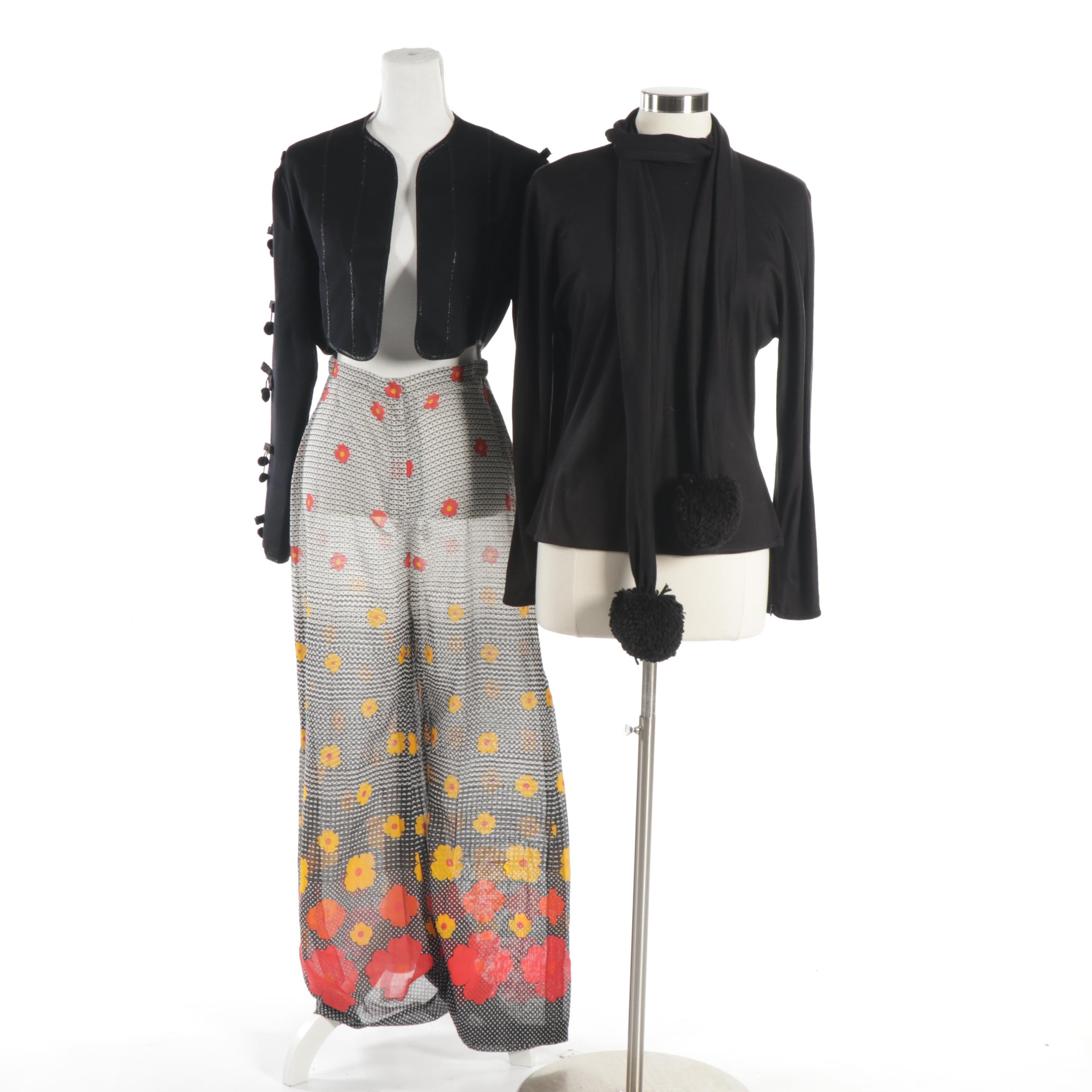 Geoffrey Beene Pom Pom Jacket and Top with Scarf and J. Tiktiner Wide-Leg Pants