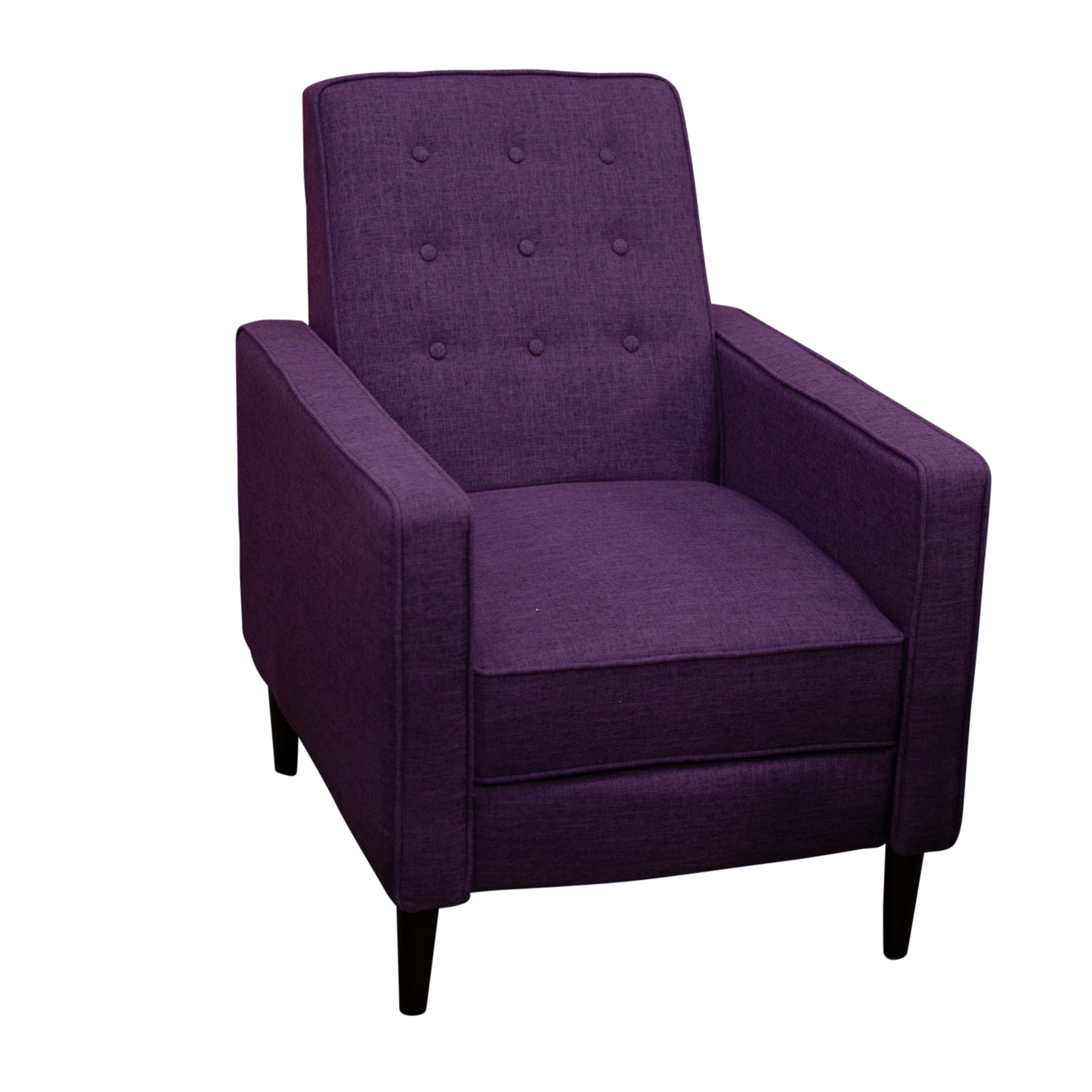 Purple Upholstered Tufted Reclining Club Chair, Contemporary