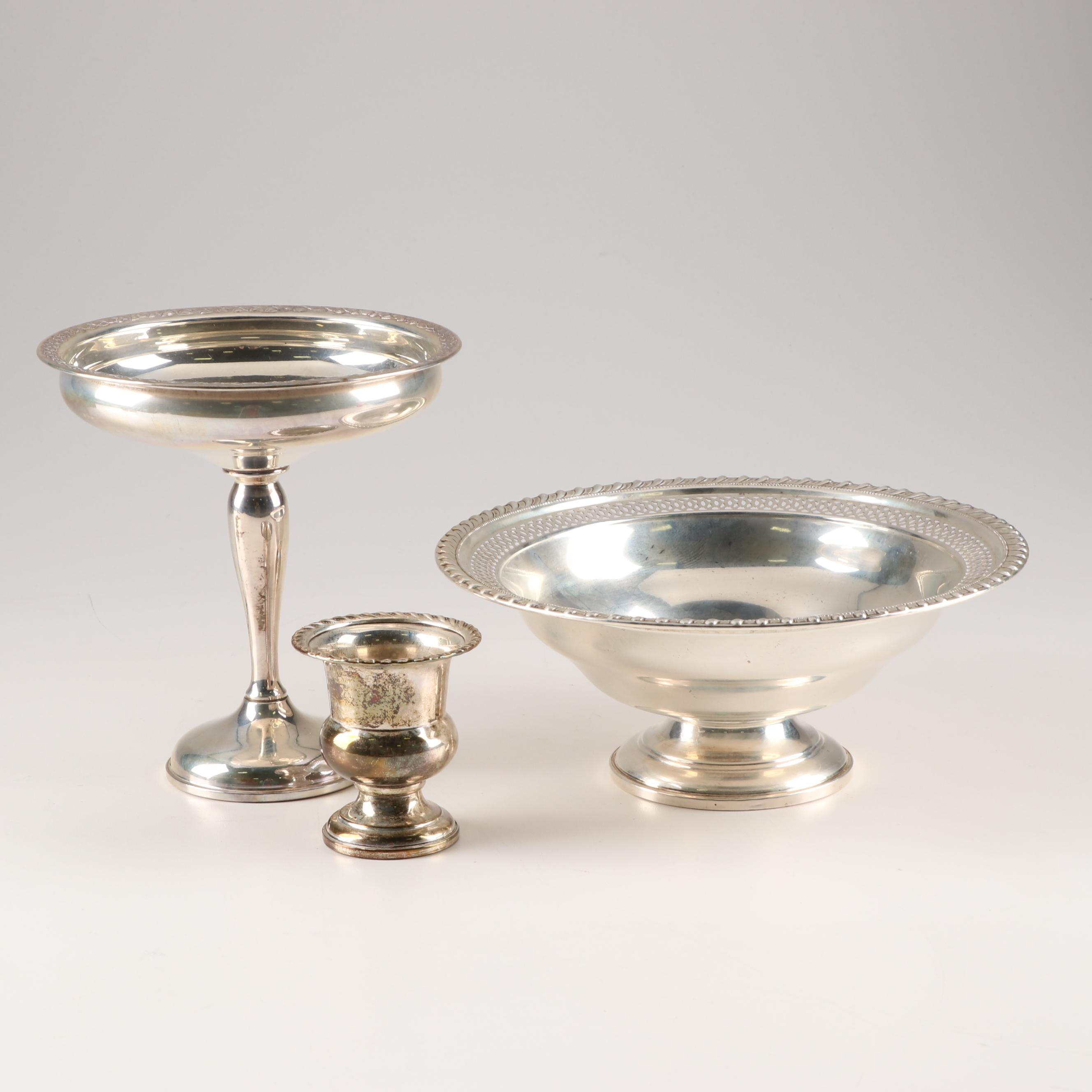 Weighted Sterling Silver Serving Pieces including National Silver Co. Compote