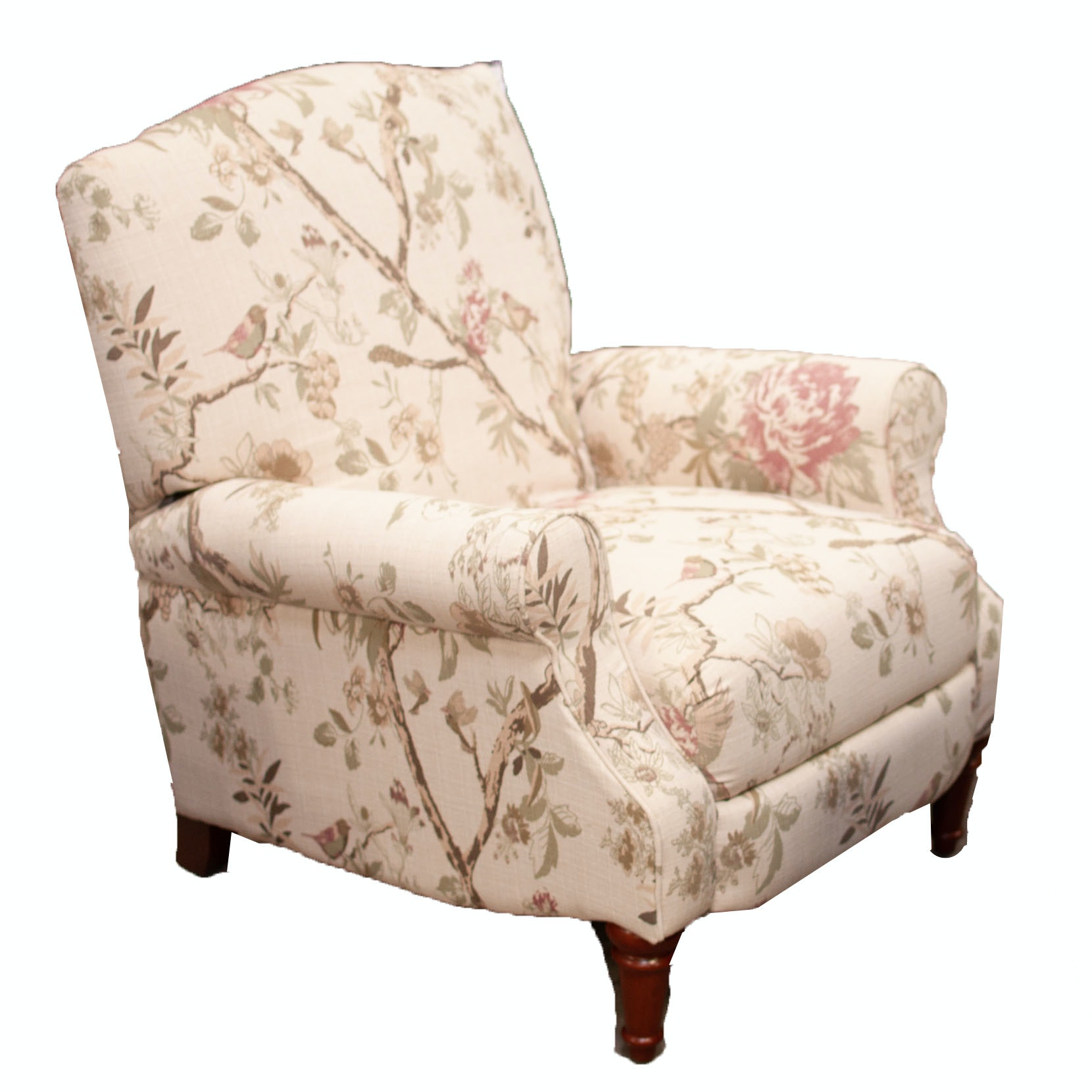 Floral Upholstered Reclining Club Chair, Contemporary