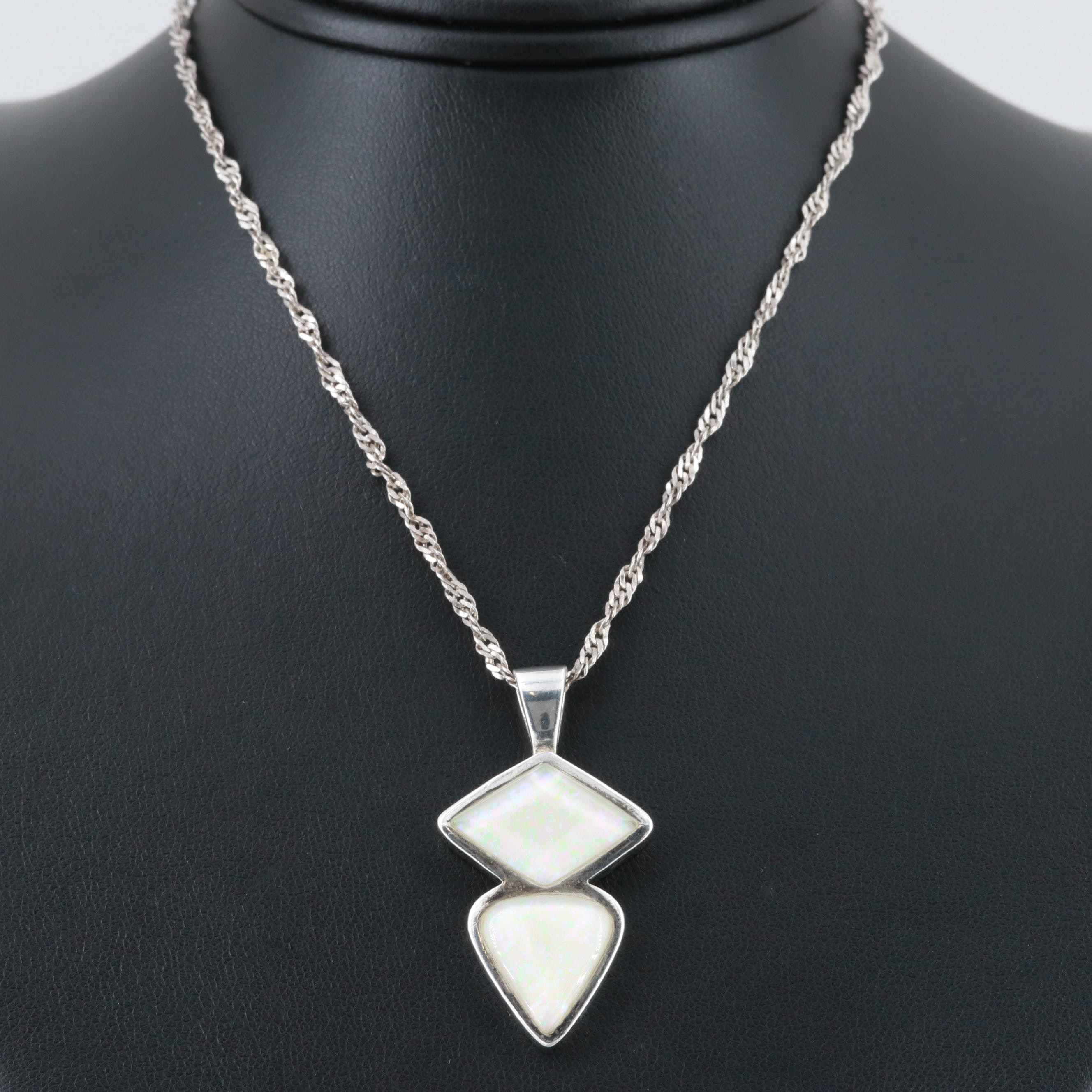 Sterling Silver Synthetic Opal Pendant Necklace