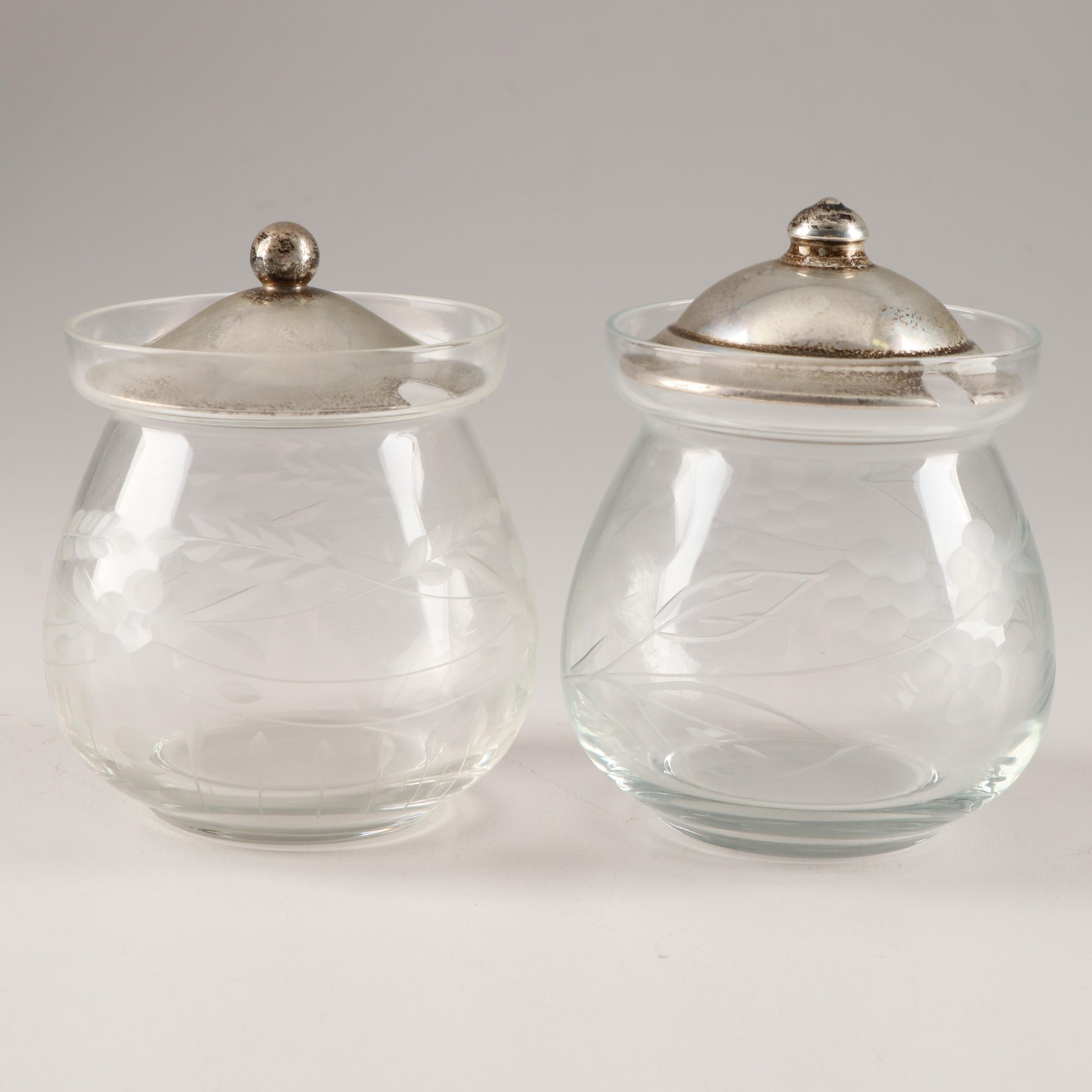 Frank M. Whiting and Webster Etched Glass Jelly Jars with Sterling Silver Lids