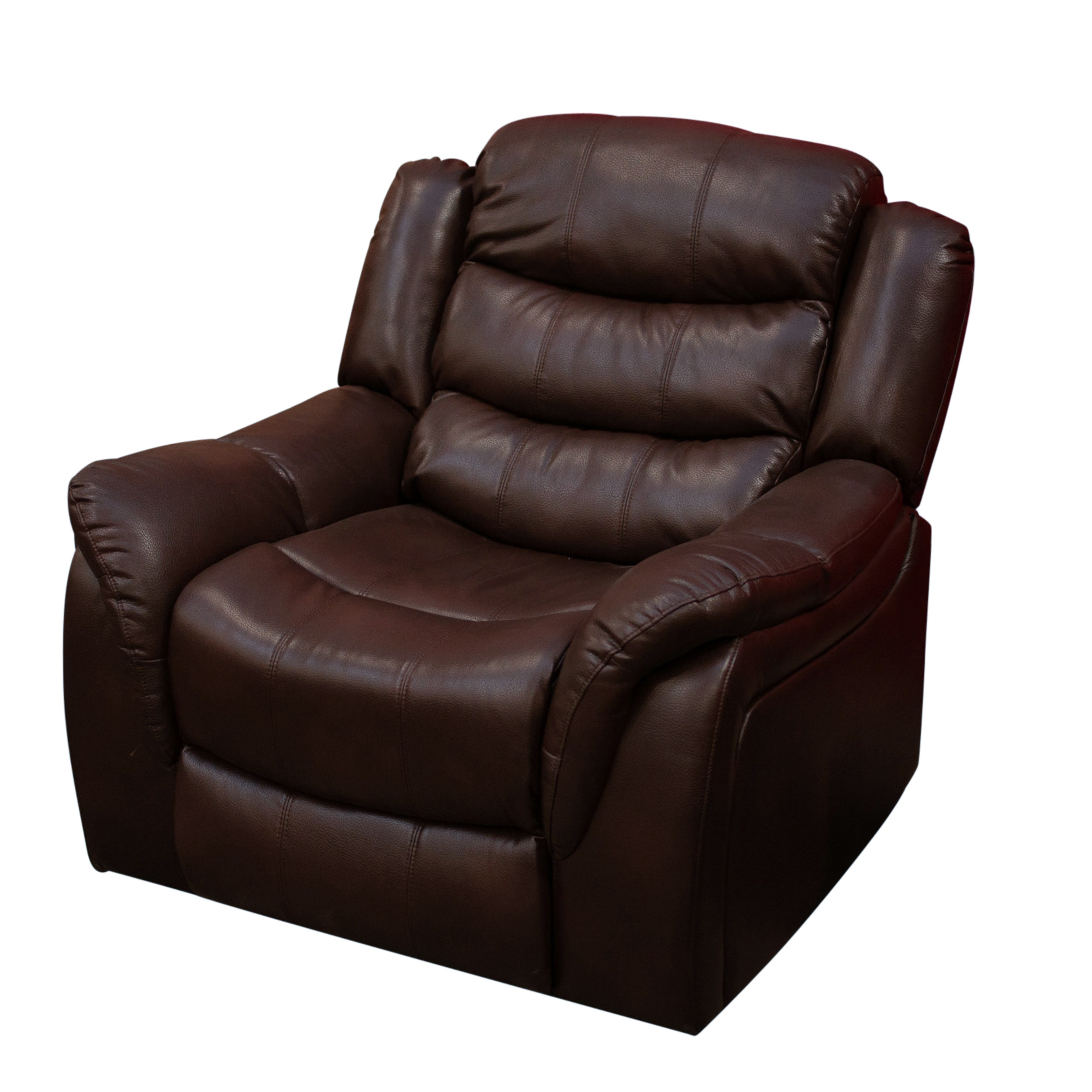 Brown Leather Reclining Club Chair, Contemporary