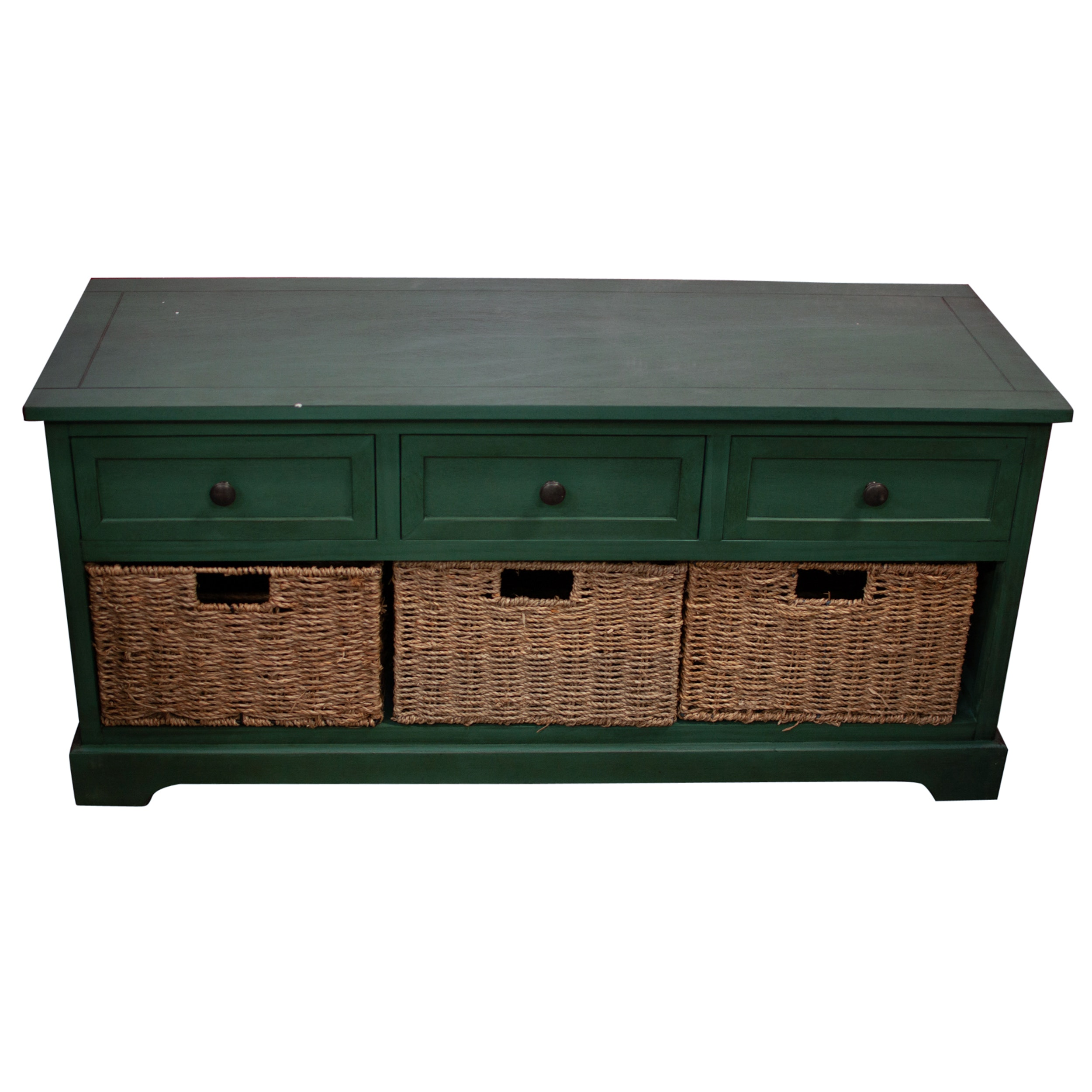 Storage Bin Console Cabinet With Drawers, Contemporary