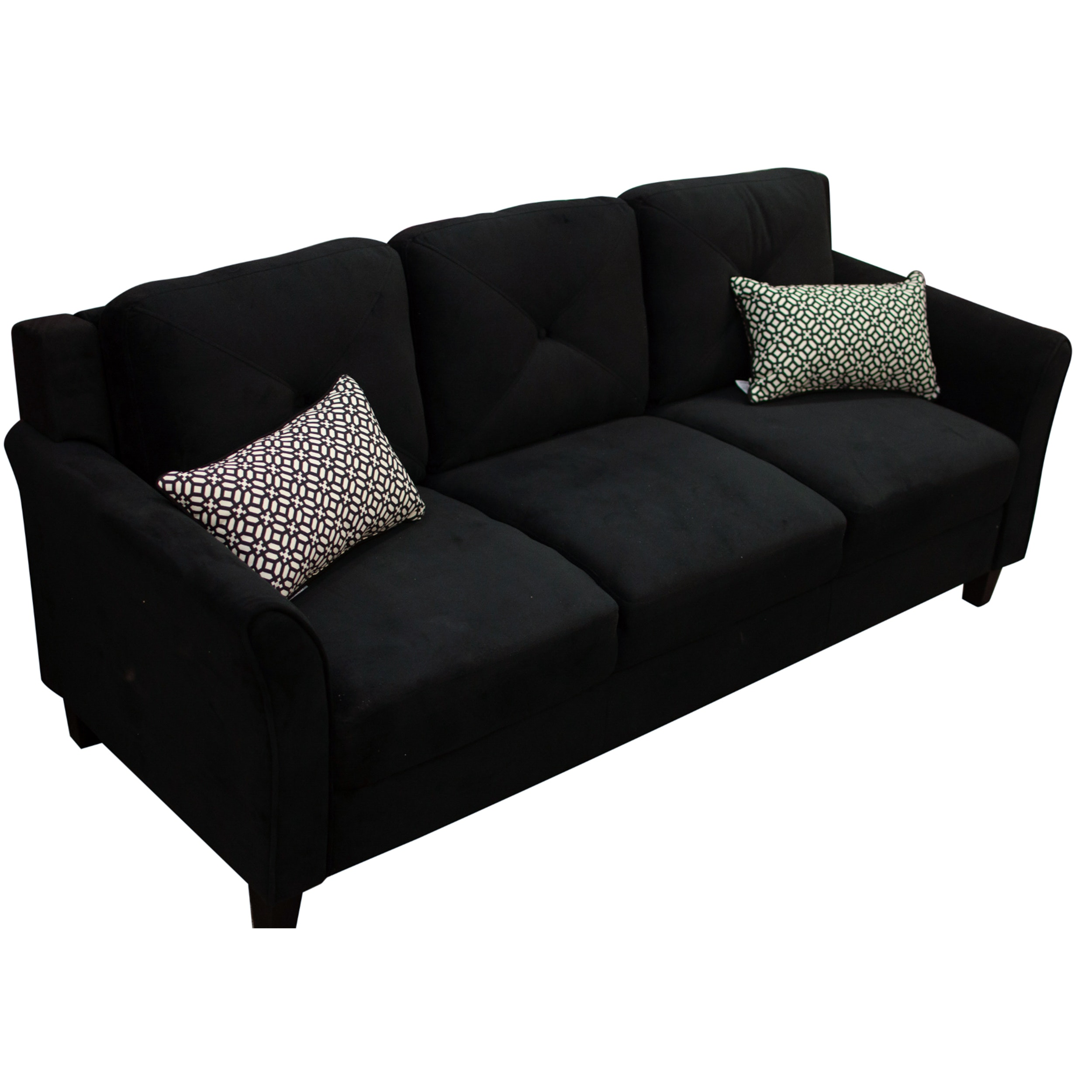 Lifestyle Solutions Black Upholstered Tufted Sofa, Contemporary