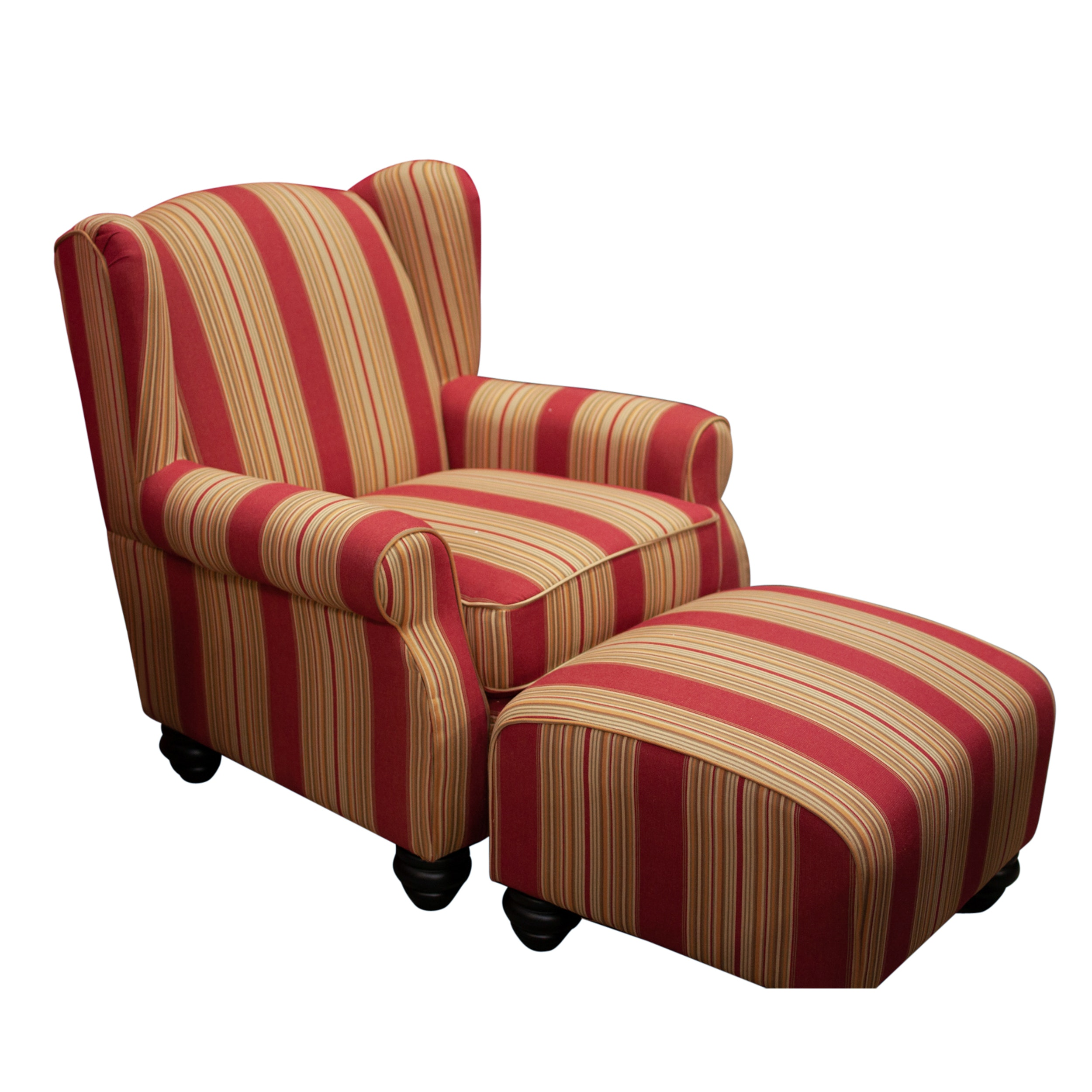 Handy Living Striped Arm Chair and Ottoman, Contemporary