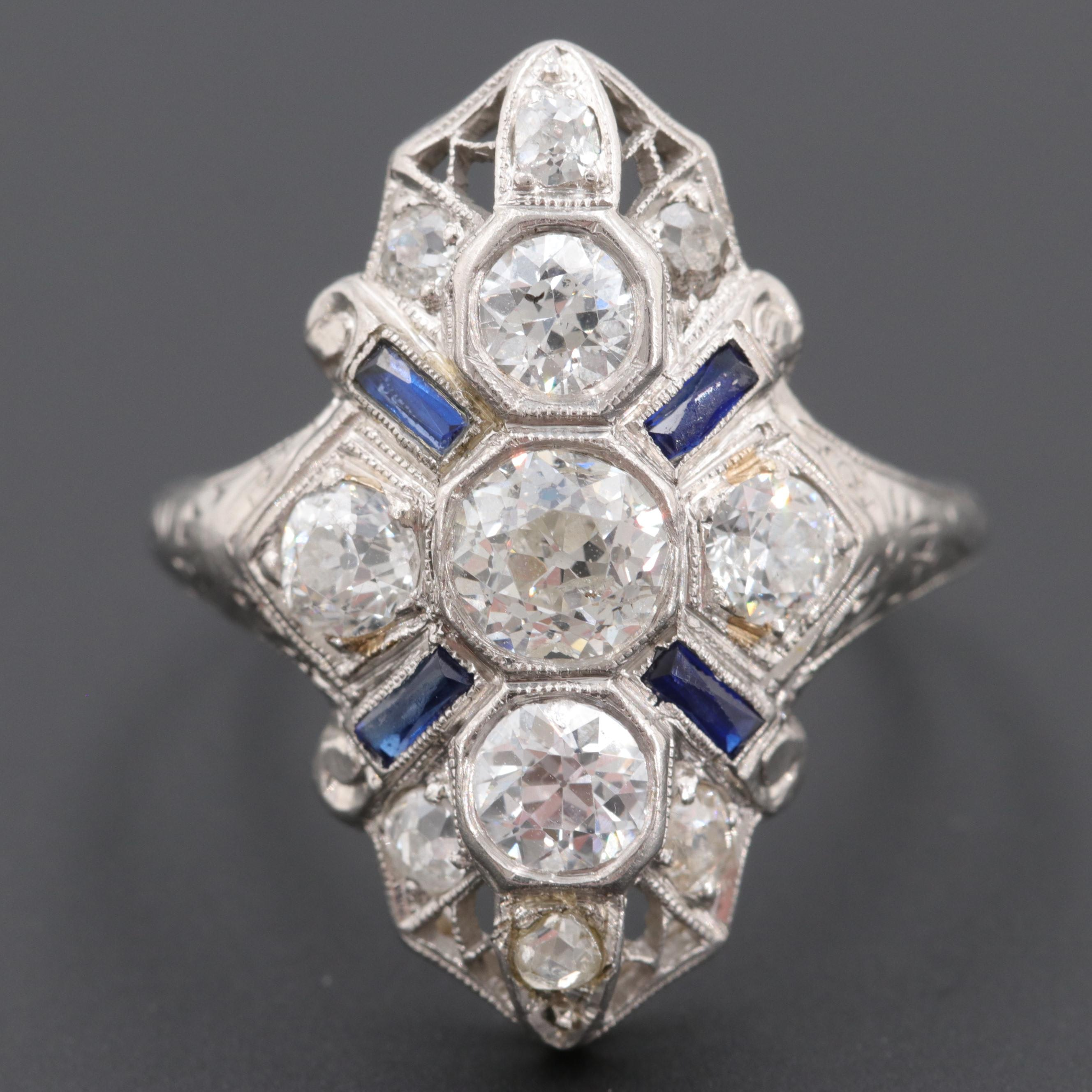Edwardian Platinum 1.57 CTW Diamond and Synthetic Sapphire Ring